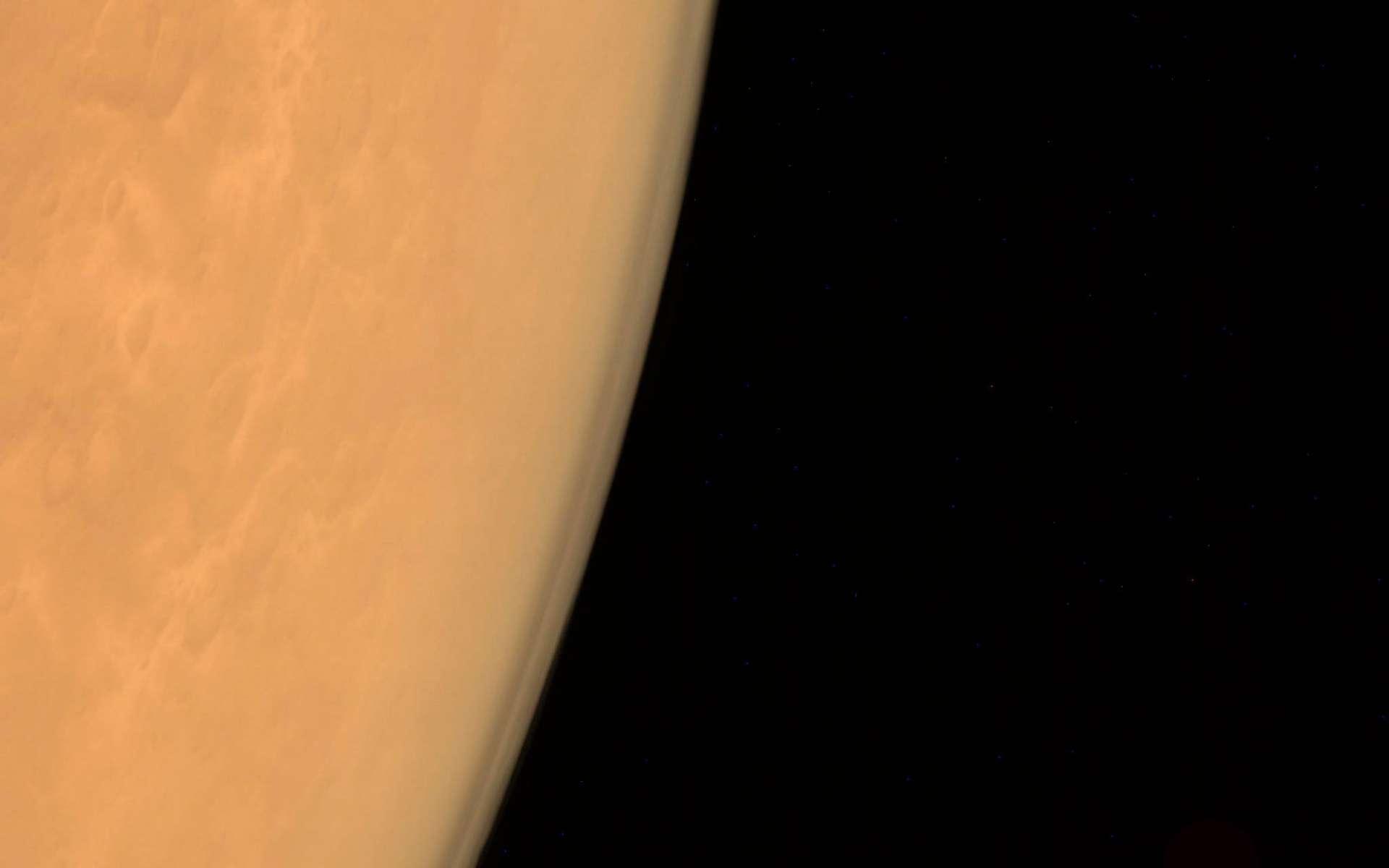 Mars et son atmosphère observés par la sonde MOM de l'Inde. © Isro