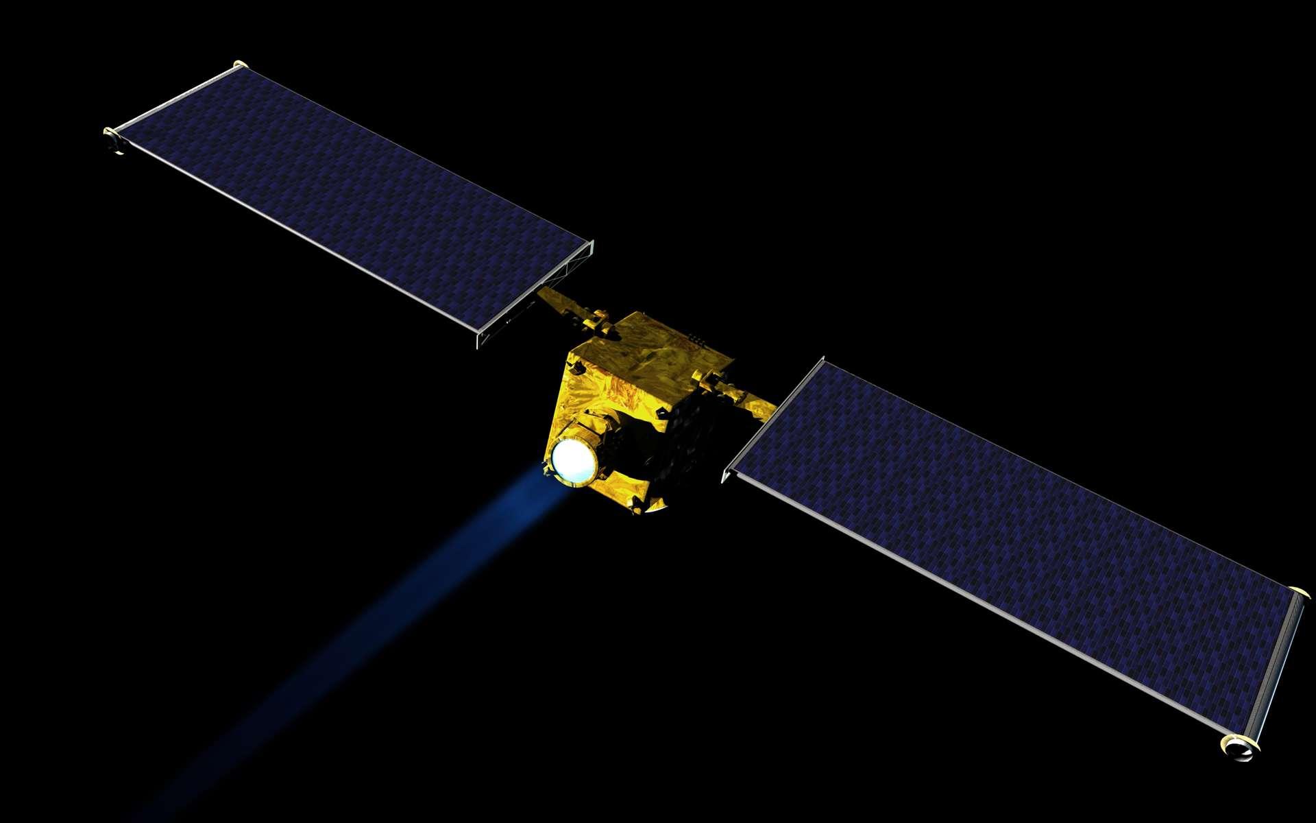 Avec la mission Dart, la Nasa veut dévier un astéroïde. Ici, une étude conceptuelle du vaisseau Dart (Double Asteroid Redirection Test). © Nasa, JHUAPL
