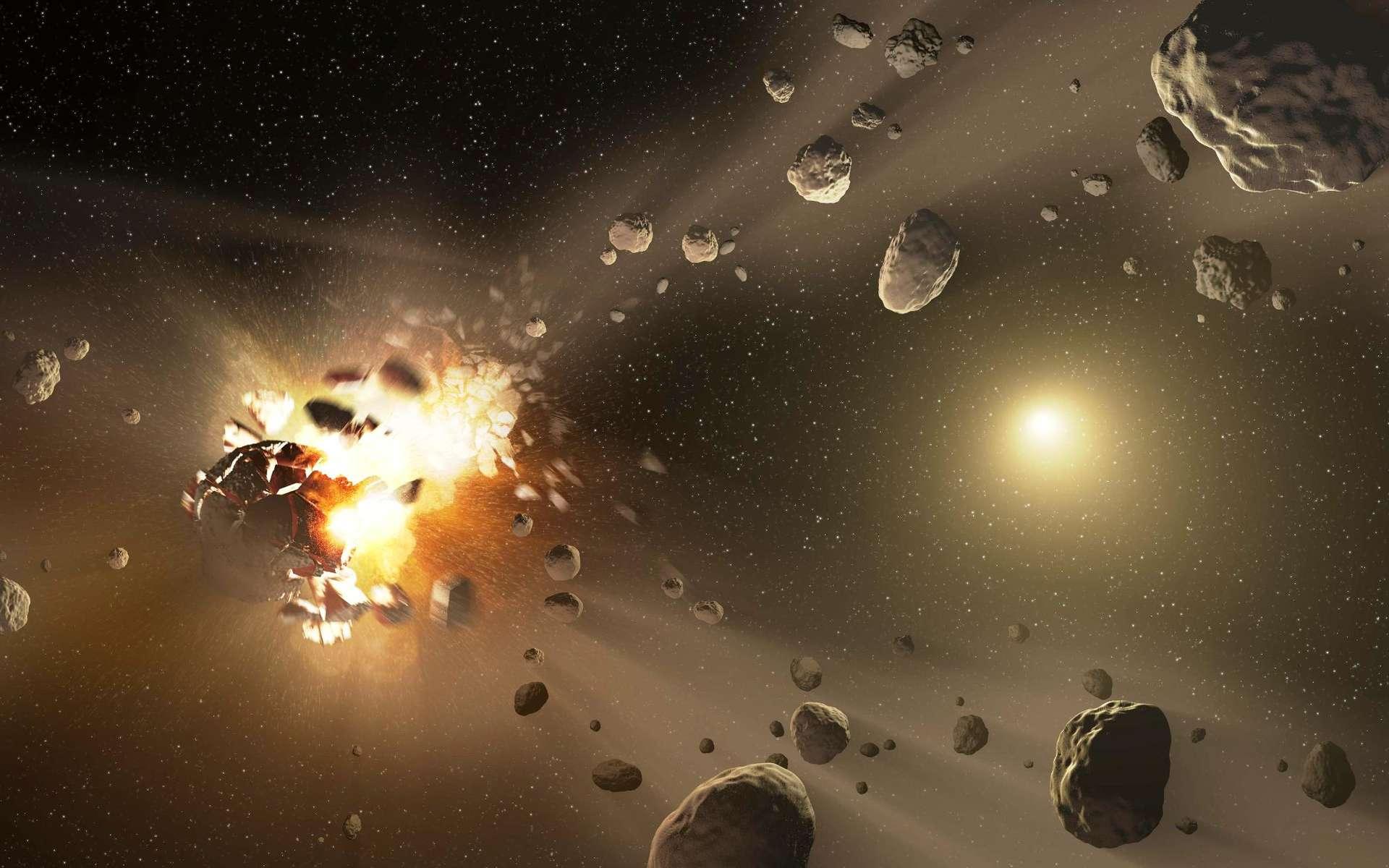 Une vue d'artiste montrant la collision violente entre deux astéroïdes. De nombreux débris sont produits, dont certains retomberont un jour sur Terre. Celles que l'on nomme des chondrites ordinaires constituent 87 % des quelque 50.000 météorites collectées à ce jour sur notre planète. © Nasa