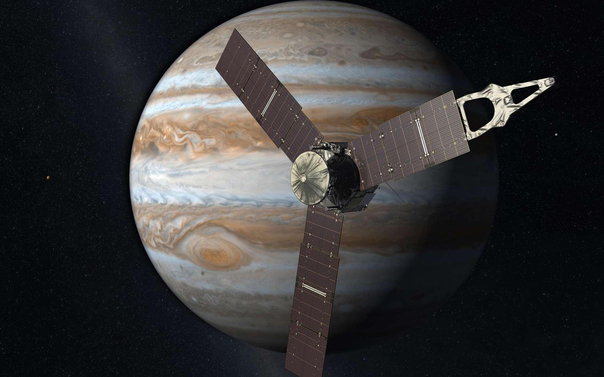 Première sonde à s'installer autour de Jupiter depuis Galileo, Juno se focalisera sur l'étude de l'atmosphère jovienne, de son champ magnétique et de la magnétosphère. La mission est prévue pour durer jusqu'en octobre 2017 avec une possibilité de prolongation. © Nasa, JPL