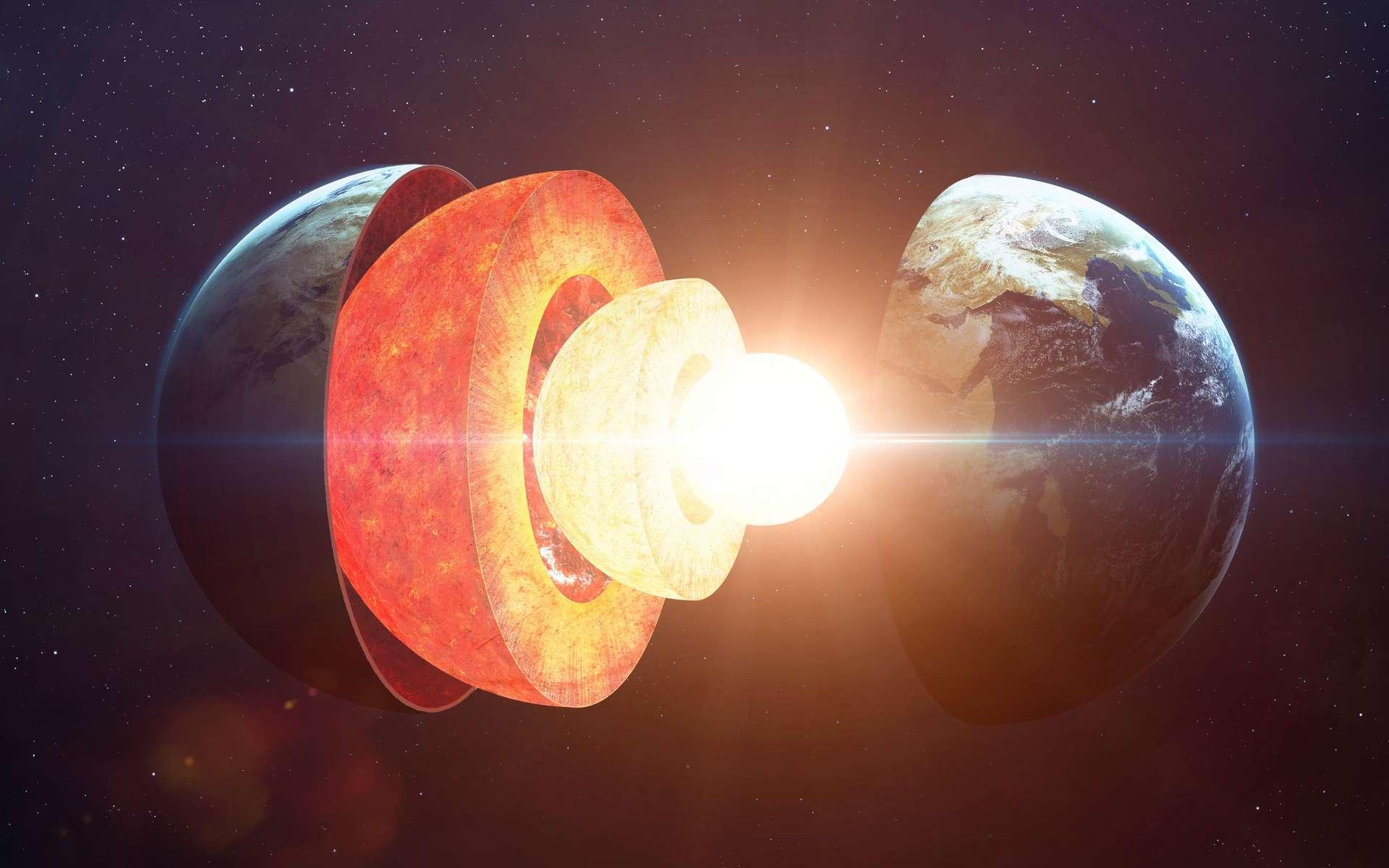 Représentation des différentes strates de la Terre, de la croûte au noyau interne. ©Adobe Stock