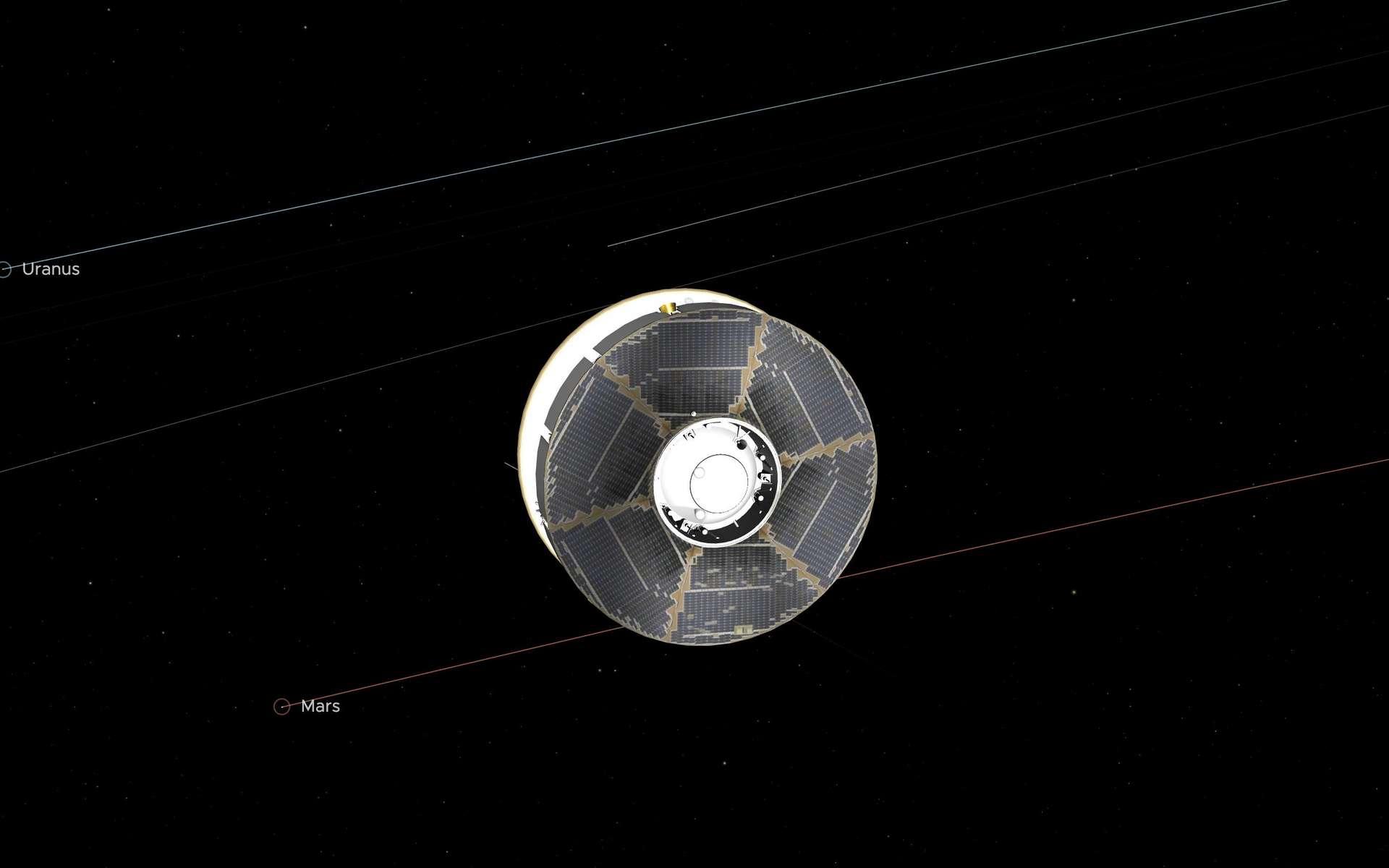Le vaisseau Mars 2020 était à mi-chemin ce mardi 27 octobre, à 21 h 40 exactement, heure de Paris. © Nasa, JPL-Caltech