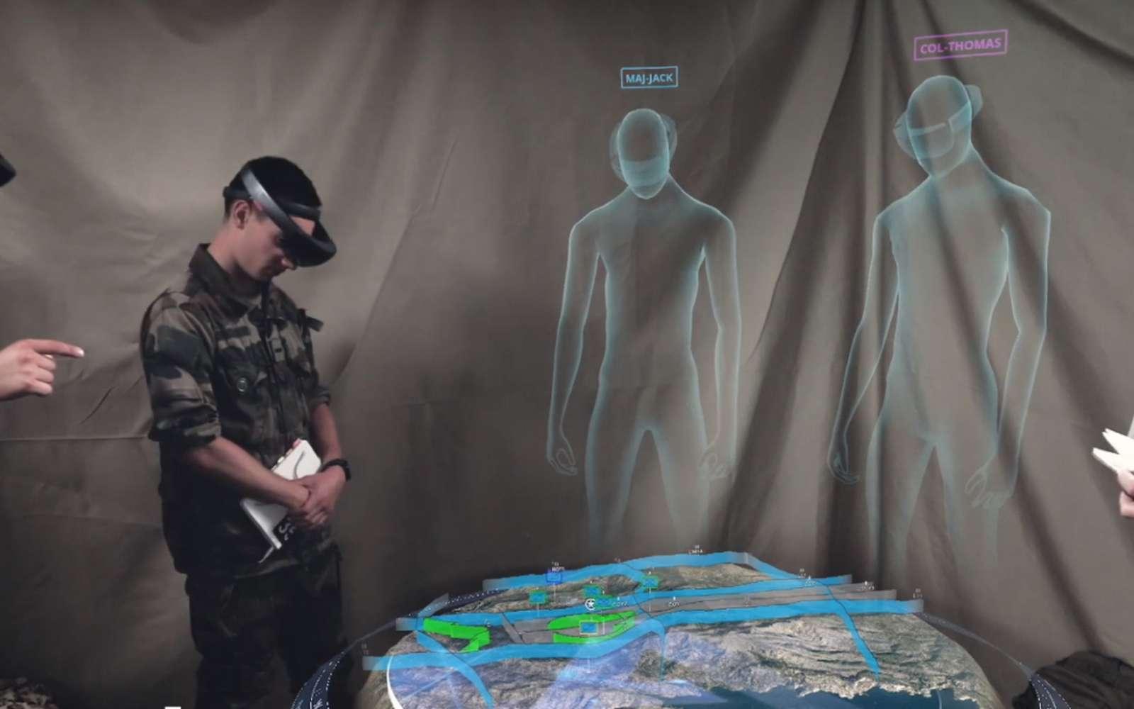 Chez Airbus, le casque Hololens 2 de Microsoft servira à construire plus vite des avions, mais aussi à aider les militaires dans leurs opérations sur le terrain, grâce à une vision 3D du champ de bataille. © Airbus