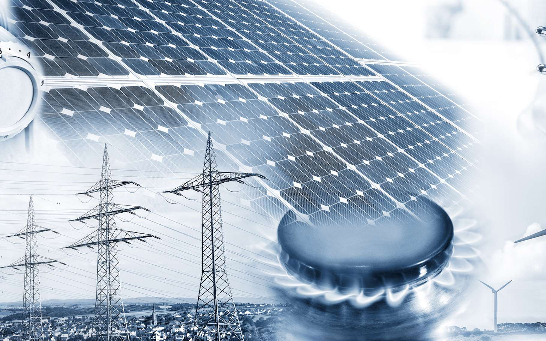 Gaz naturel et énergies renouvelables peuvent être couplés à différents niveaux. © Eisenhans, Fotolia