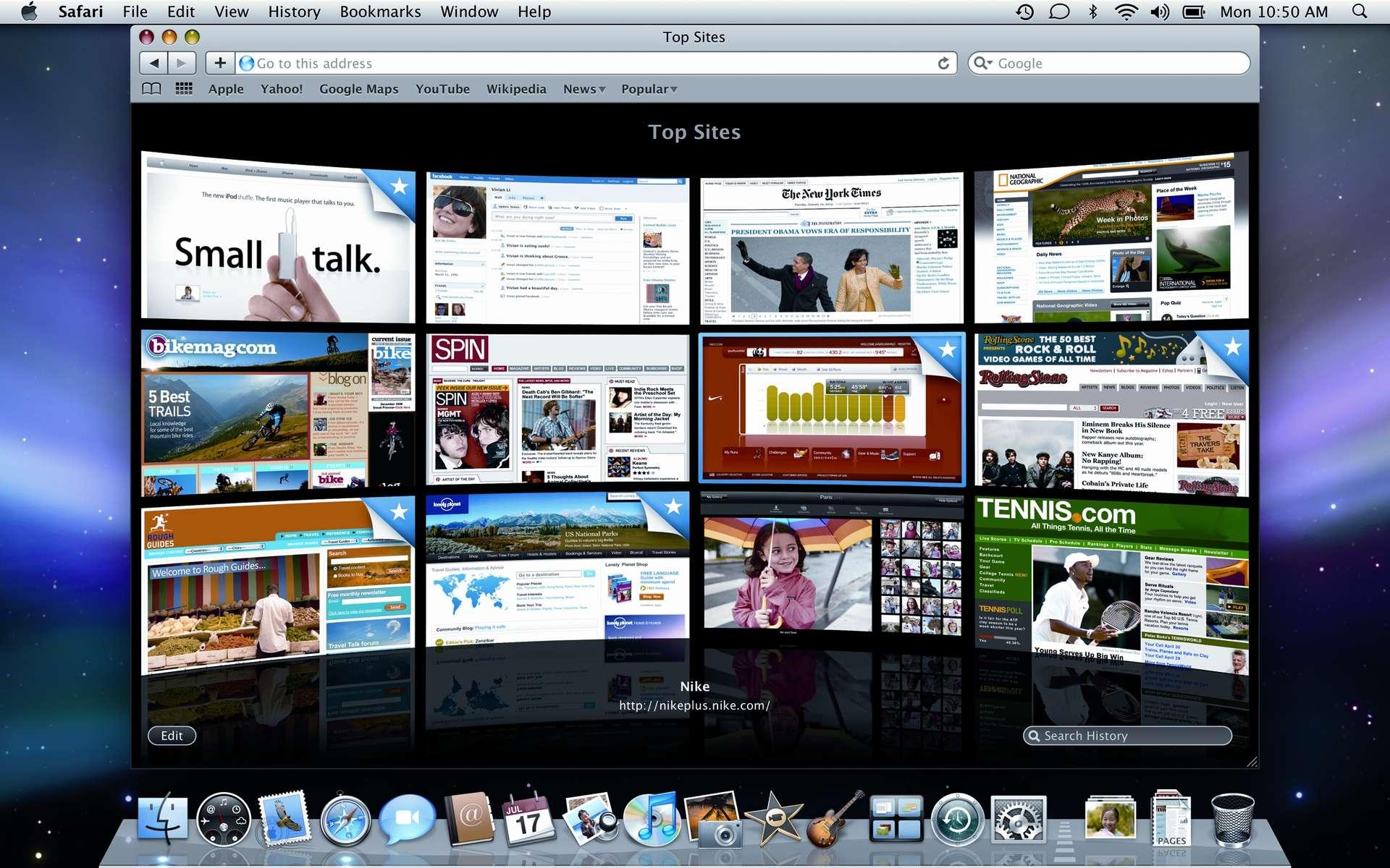 Safari 4, un navigateur Web pour le Mac... qui séduit les utilisateurs de PC. © DR