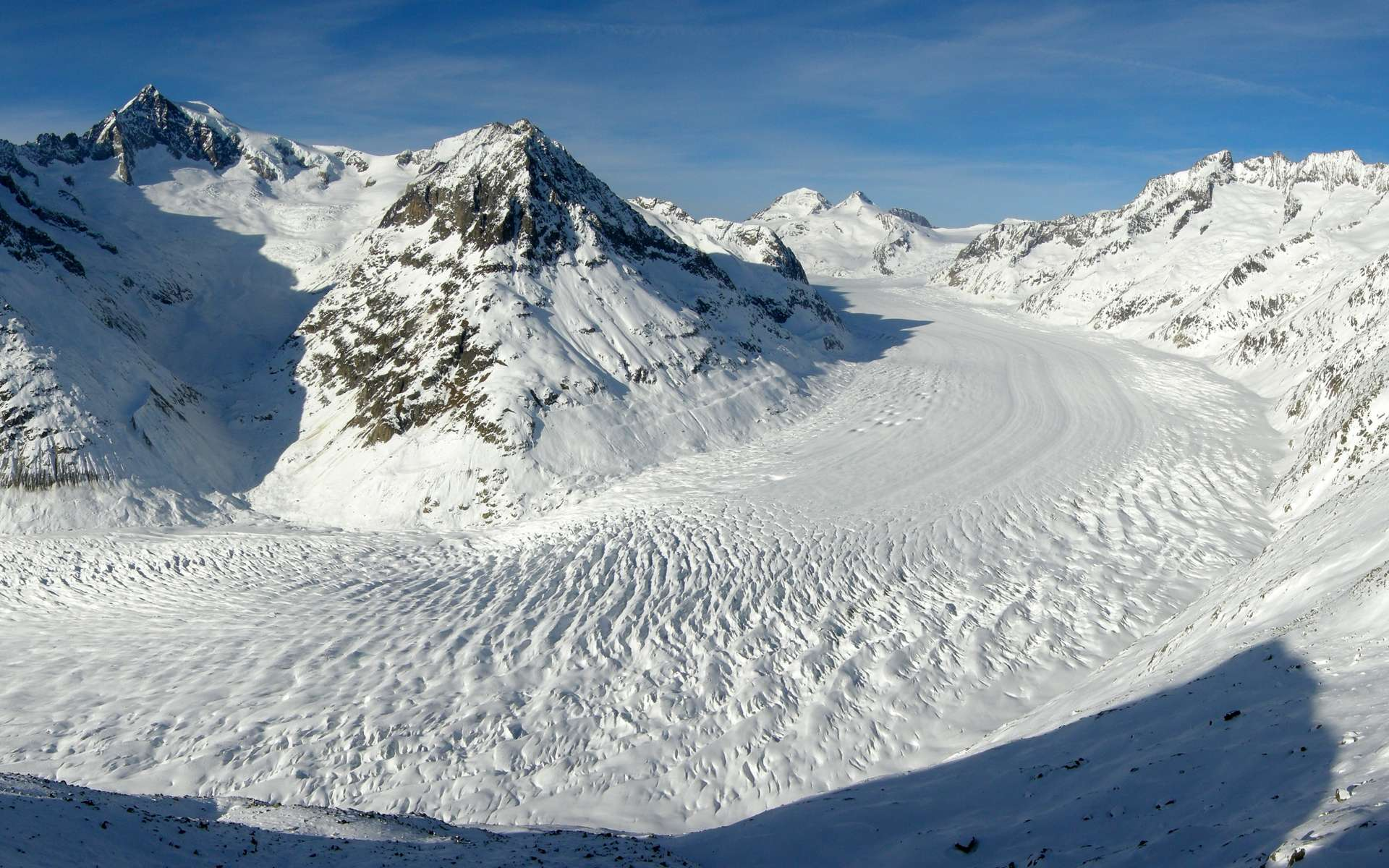 Dans les Alpes, le grand glacier d'Aletsch vu de l'Eggishorn, dans le Valais en Suisse. © Tobias Alt, Tobi 87, Wikimedia Commons, CC by-sa 4.0