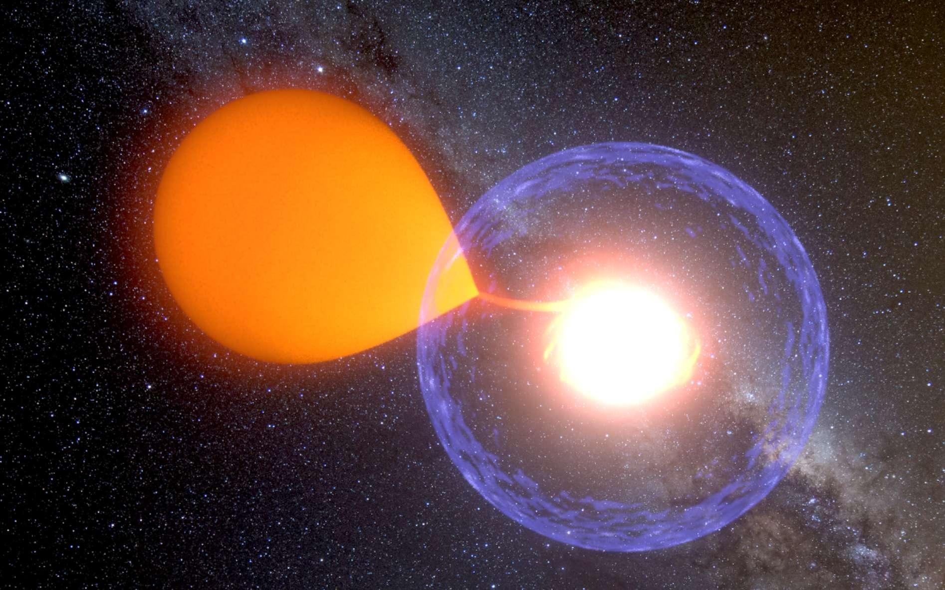Une vue d'artiste de la nova associée à l'étoile variable V1213 Centauri. L'explosion est survenue à la surface d'une naine blanche (à droite sur l'image) accrétant de la matière issue d'une naine rouge (à gauche). Les astrophysiciens pensent qu'entre 40 et 60 novae se produisent chaque année dans la Voie lactée. Toutefois, on n'en observe que quelques-unes car, généralement, les nuages de poussières et de gaz de la Galaxie nous les cachent. © K. Ulaczyk, Warsaw University Observatory
