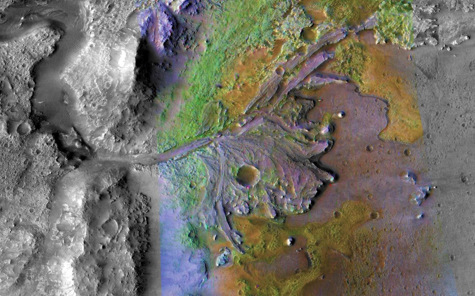 Le cratère Jezero, dont on peut voir les traces d'un ancien delta et lac, sera le site d'atterrissage du rover Mars 2020. © Nasa, JPL-Caltech, MSSS, JHU-AP