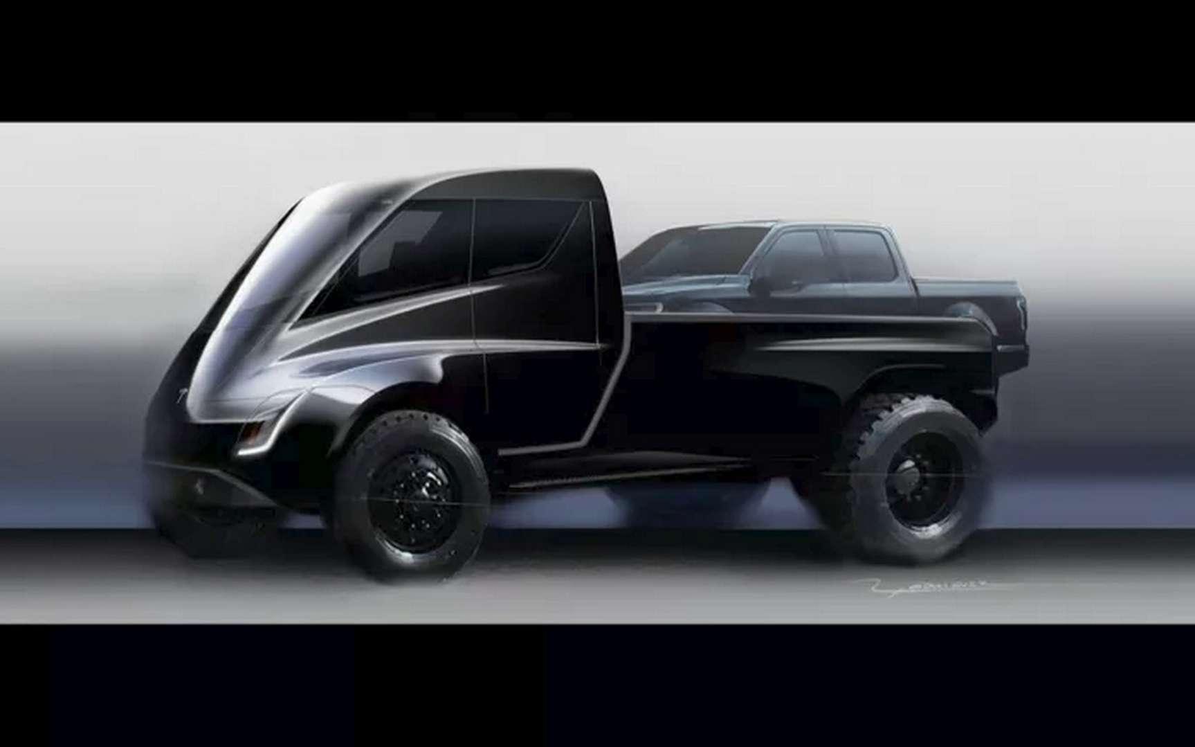 Cette esquisse du Tesla Truck a été dévoilée par Elon Musk lors de la présentation du camion électrique Tesla Semi. © Tesla