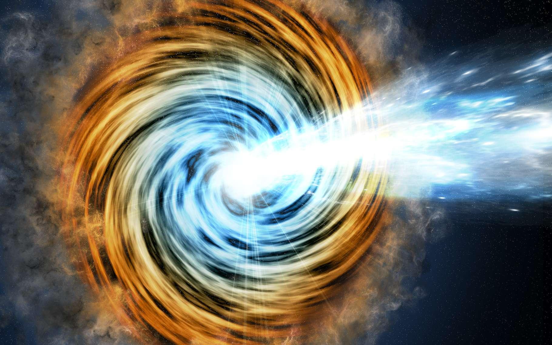Une vue d'artiste de ce que serait un blazar, un noyau actif de galaxie alimenté par un trou noir supermassif. © M. Weiss/CfA, Nasa