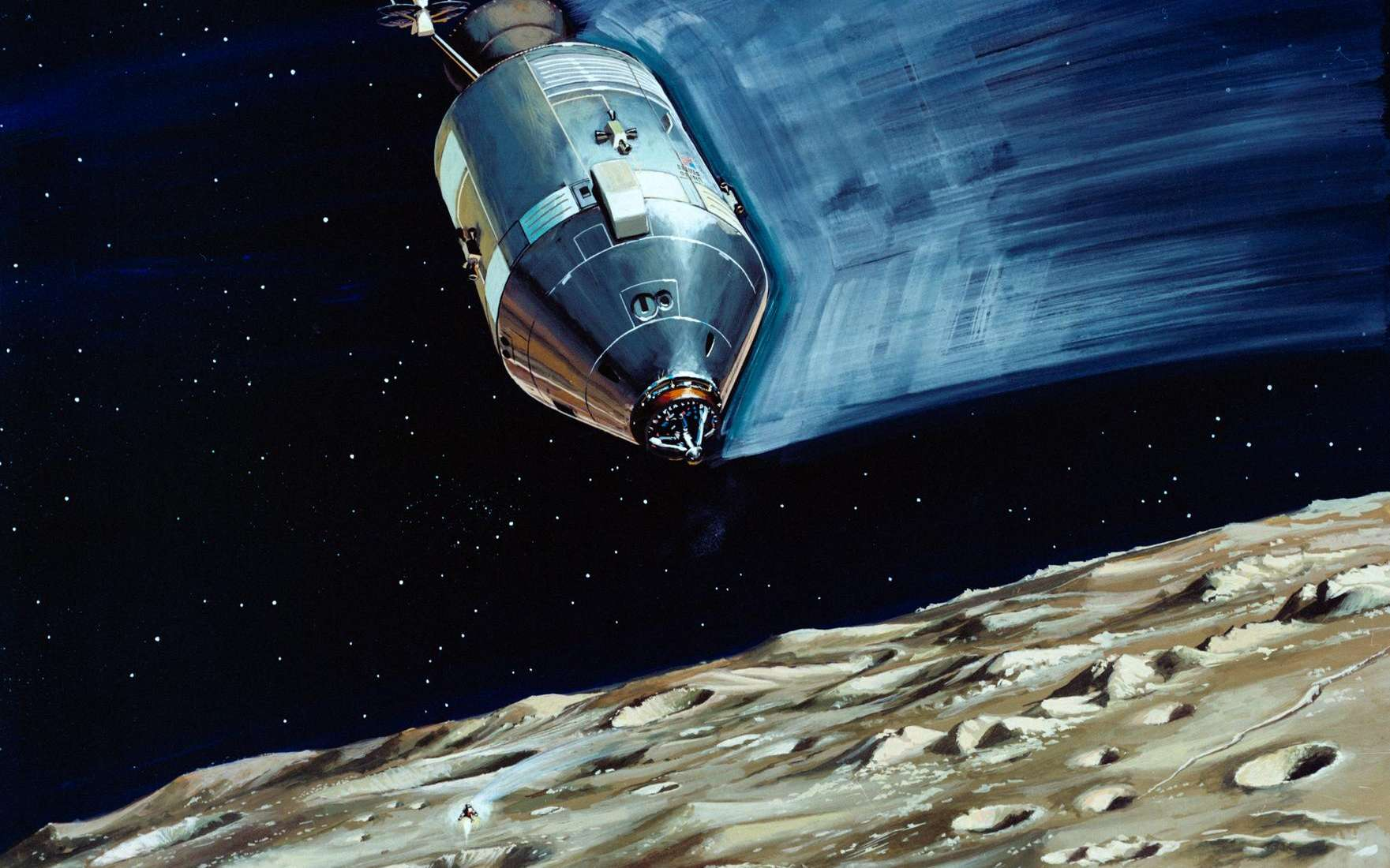 Vue d'artiste du module de commande et de service de la mission Apollo 13 (1970) restant en orbite autour de la Lune tandis que le module lunaire effectue sa descente vers la surface. © Nasa