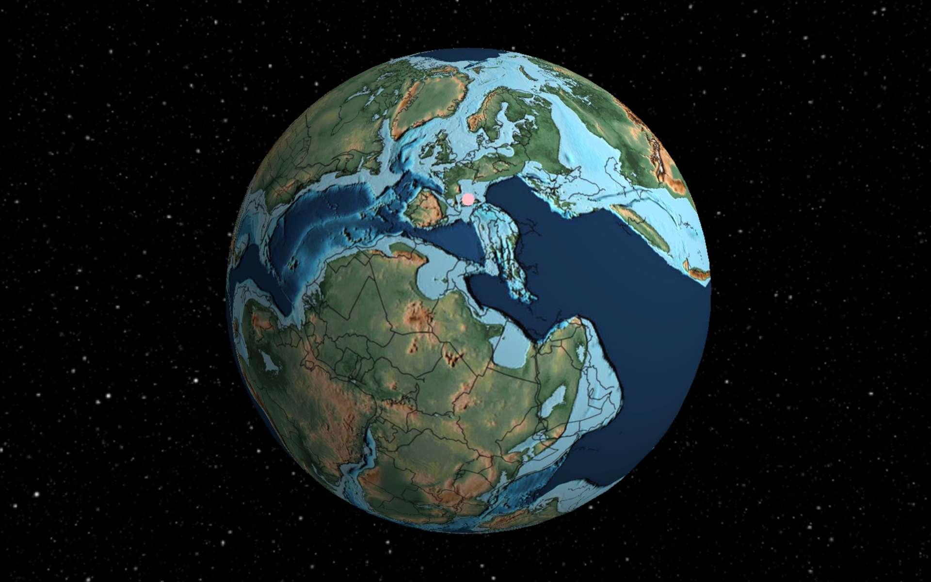 Il y a 120 millions d'années, le climat global était plus chaud qu'aujourd'hui. Point de calotte glaciaire à cette période. L'Europe est en encore en morceaux. Une partie de la France est sous l'eau. © Ian Webster