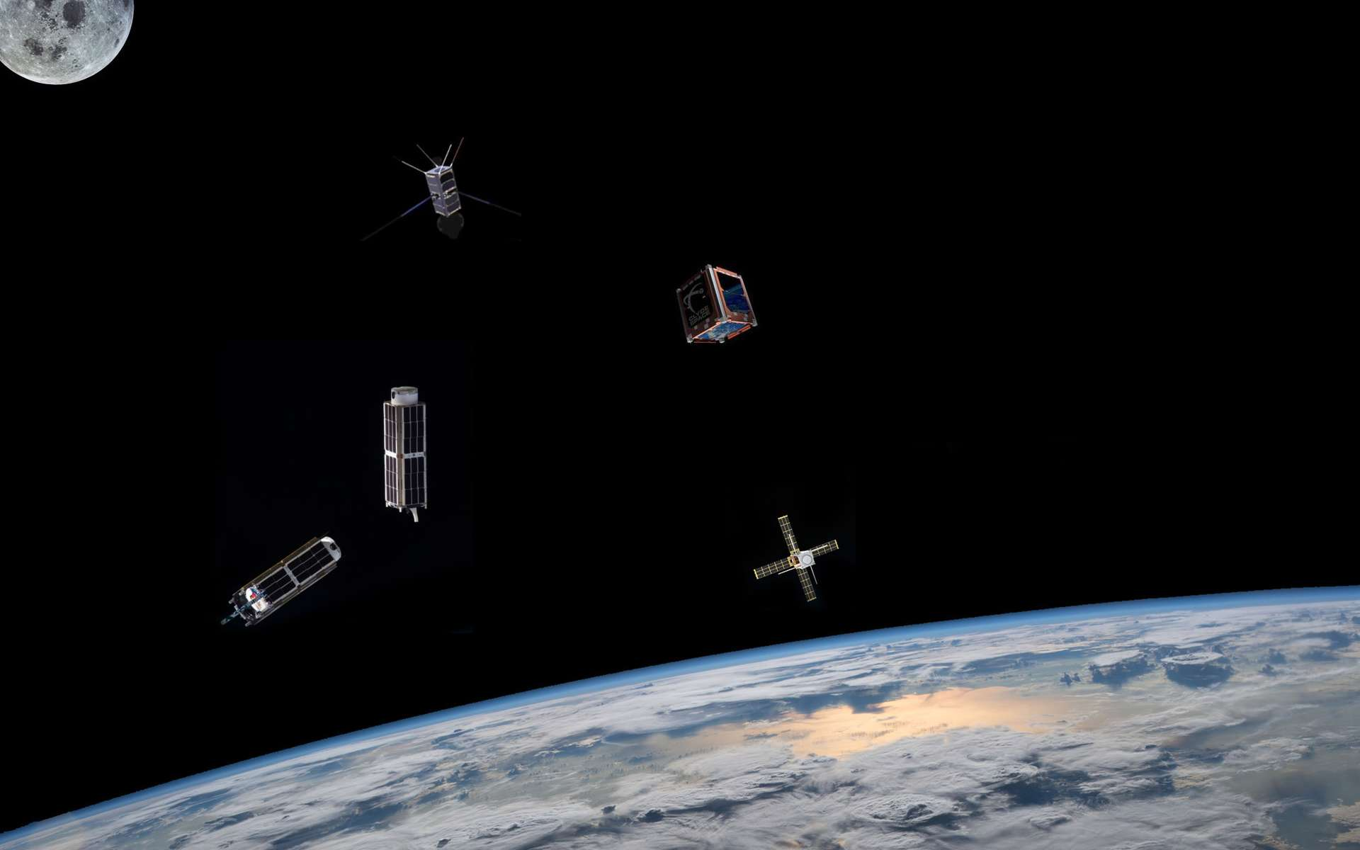 Deux Cubesats accompagnent Insight dans sa mission martienne. L'un d'eux a pris une photo de la Terre et de la Lune. Une première pour de si petits engins. © Nasa, Droits réservés et montage R. Decourt
