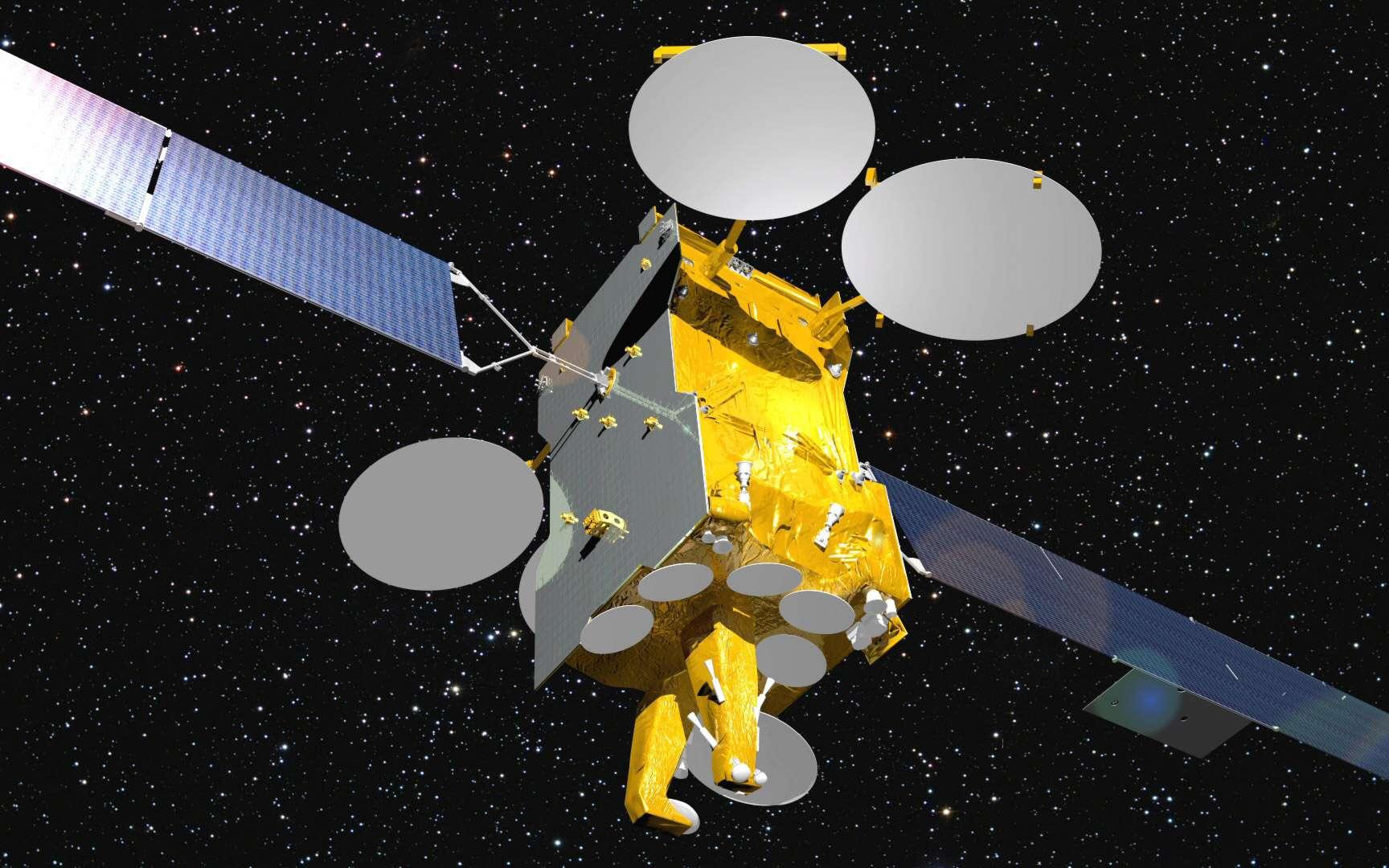 Le satellite Eutelsat 3B complétera en 2014 l'offre de service fournie par Eutelsat, premier opérateur européen et l'un des trois premiers opérateurs mondiaux de services fixes par satellite. © Astrium