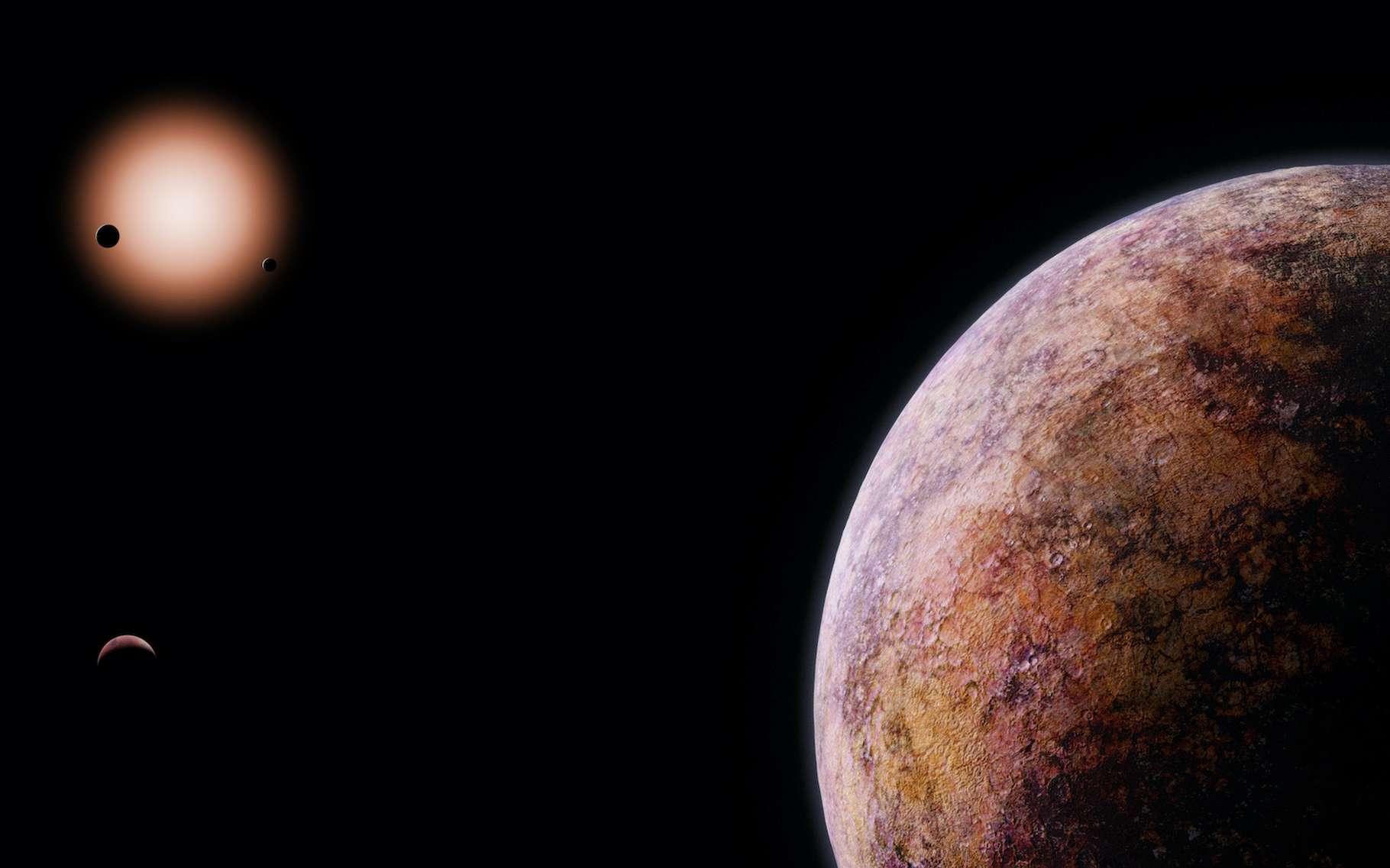 Des astronomes suisses nous présentent deux nouvelles exoplanètes orbitant autour d'une naine rouge située à 120 années-lumière de la Terre. © dottedyeti, Adobe Stock