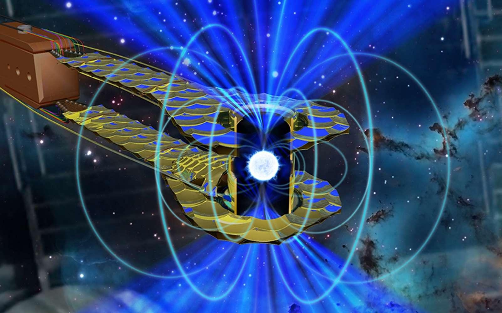 On voit sur cette image d'artiste un hohlraum – un minuscule cylindre d'or tenant lieu de four dans des expériences sur la fusion inertielle à hautes pressions avec des lasers, ici utilisé pour reproduire l'état de la matière dans une naine blanche en comprimant avec du rayonnement X une microsphère. © Mark Meamber et Clayton Dahlen, Lawrence Livermore National Laboratory