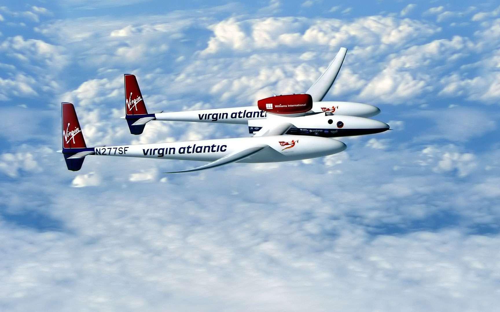 Le GlobalFlyer dans les nuages. Le tour du monde en solitaire de Steve Fossett à bord du GlobalFlyer débuta le 28 février 2005 et se termina le 3 mars de la même année. Le pilote ne fit aucune escale et son vol dura 67 heures 2 minutes et 38 secondes. Un record. © Virgin Atlantic GlobalFlyer