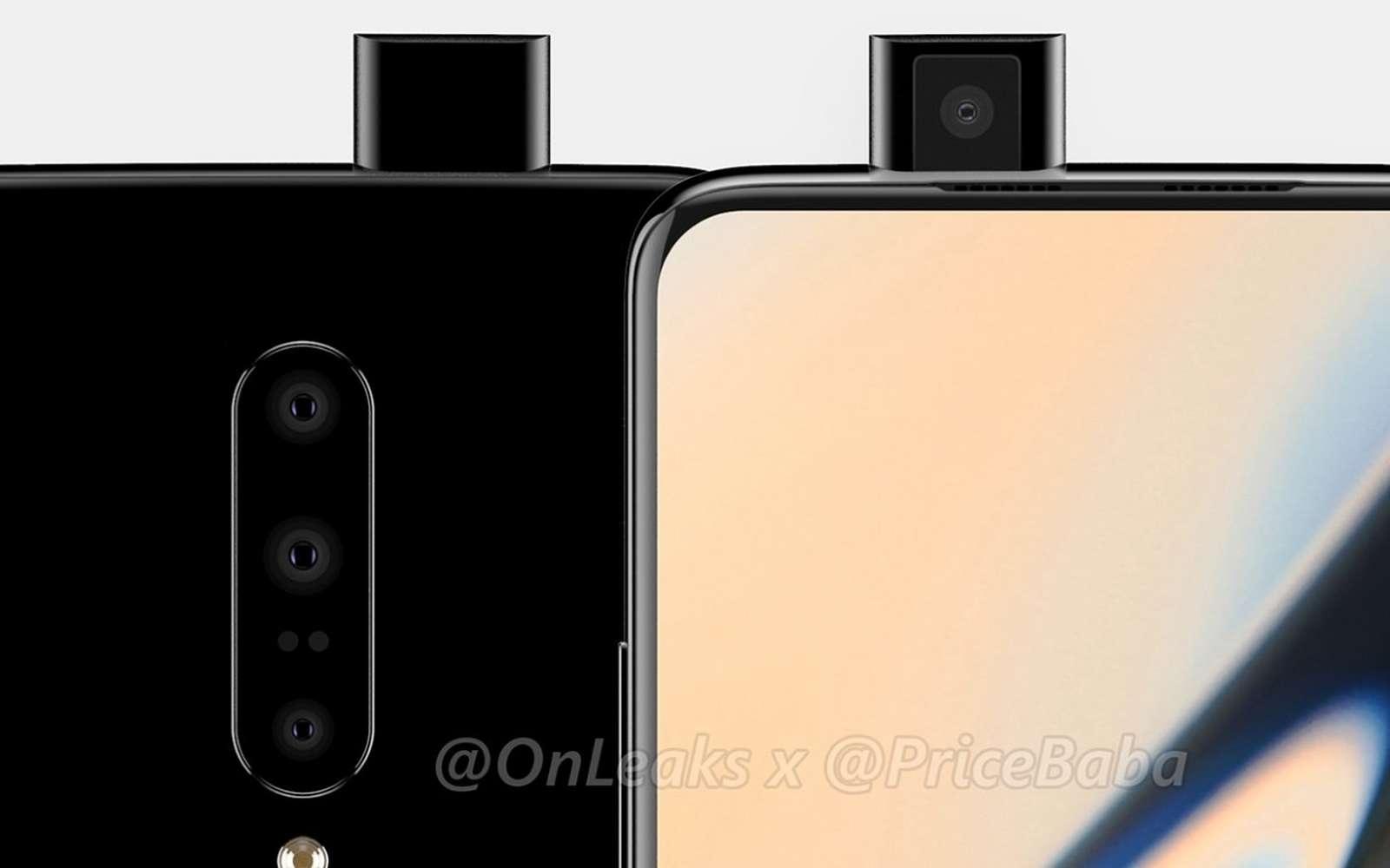 Trois capteurs photos à l'arrière et un capteur à selfies escamotable à l'avant. Voici une vue d'artiste de ce que sera le futur OnePlus 7 Pro qui sortira fin mai ou début juin. © Pricebaba & @OnLeaks