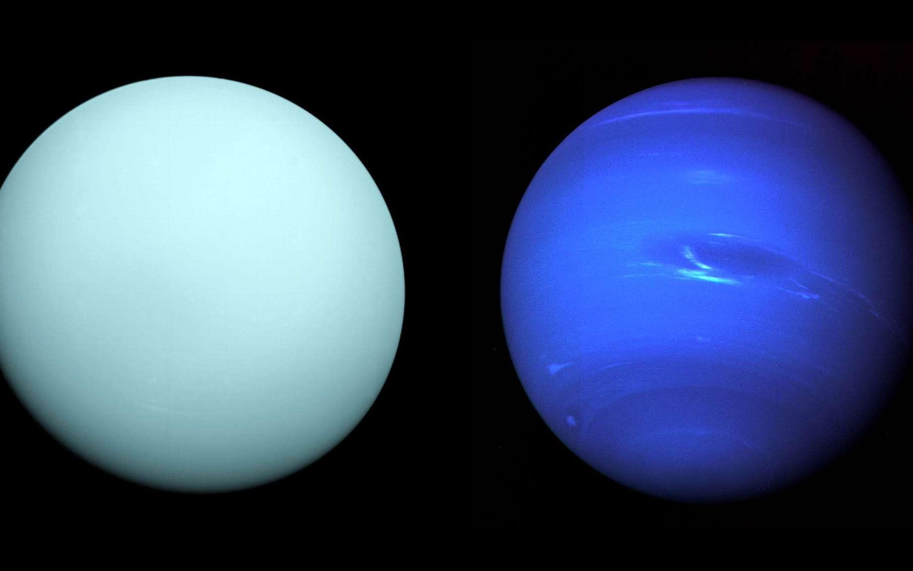 Uranus et Neptune vues par la mission Voyager 2 de la Nasa. @ Nasa, Voyager Science team
