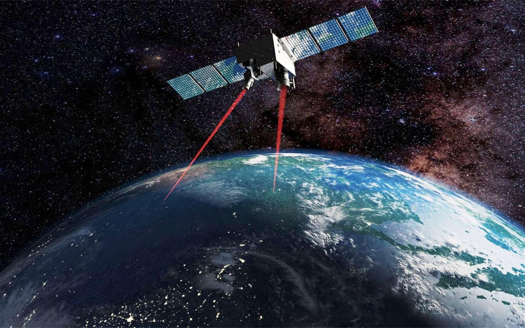 Une vue d'artiste du test de l'intrication quantique depuis l'espace. © Science Magazine
