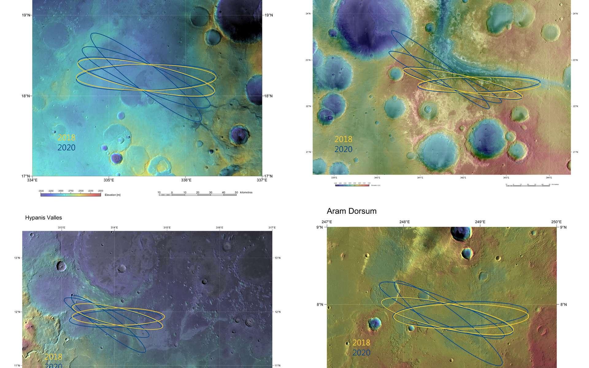 Les quatre sites d'atterrissage possibles pour le rover d'ExoMars 2018. On notera que les ellipses d'atterrissage ont été calculées pour 2018 mais aussi pour 2020 en cas de report du tir. © Esa, DLR, FU Berlin & Nasa MGS Mola Science Team