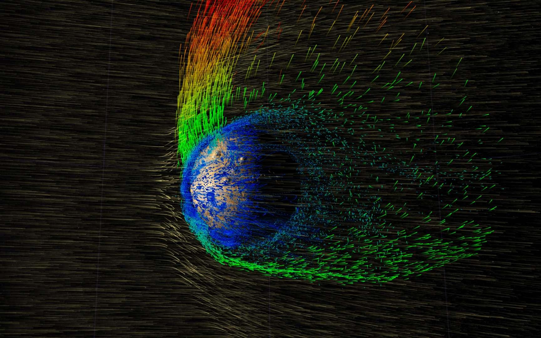 Érosion de l'atmosphère de Mars par le vent solaire. © Nasa, Goddard Space Flight Center
