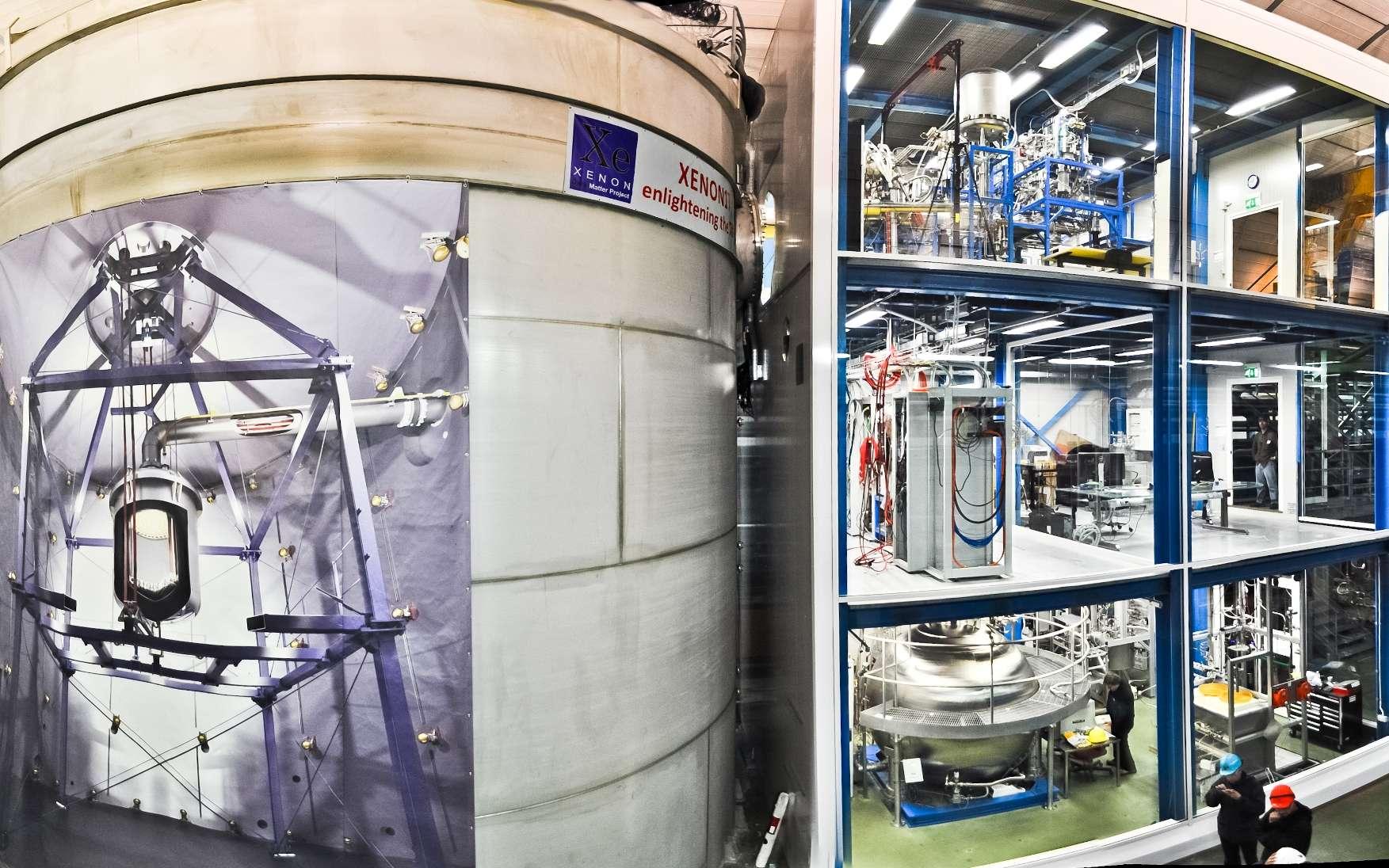 L'expérience Xenon 1T trouvera-t-elle de la matière noire ? Elle se trouve sous le Gran Sasso, en Italie, dans une caverne qui mesure 100 m de long, 20 m de large et 18 m de haut. Le nouvel instrument y est installé à l'intérieur d'un château d'eau de 10 m de diamètre afin de le protéger de la radioactivité naturelle de l'environnement. © Xenon Collaboration