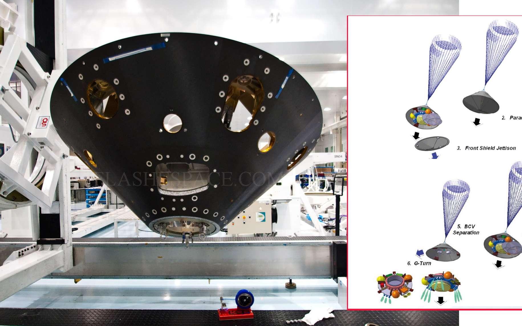 Une partie du bouclier thermique du démonstrateur EDM de la mission ExoMars 2016 qui se compose d'un cône arrière (backshell, à l'image) et d'un cône avant (heatshield). © Remy Decourt/Futura-Sciences