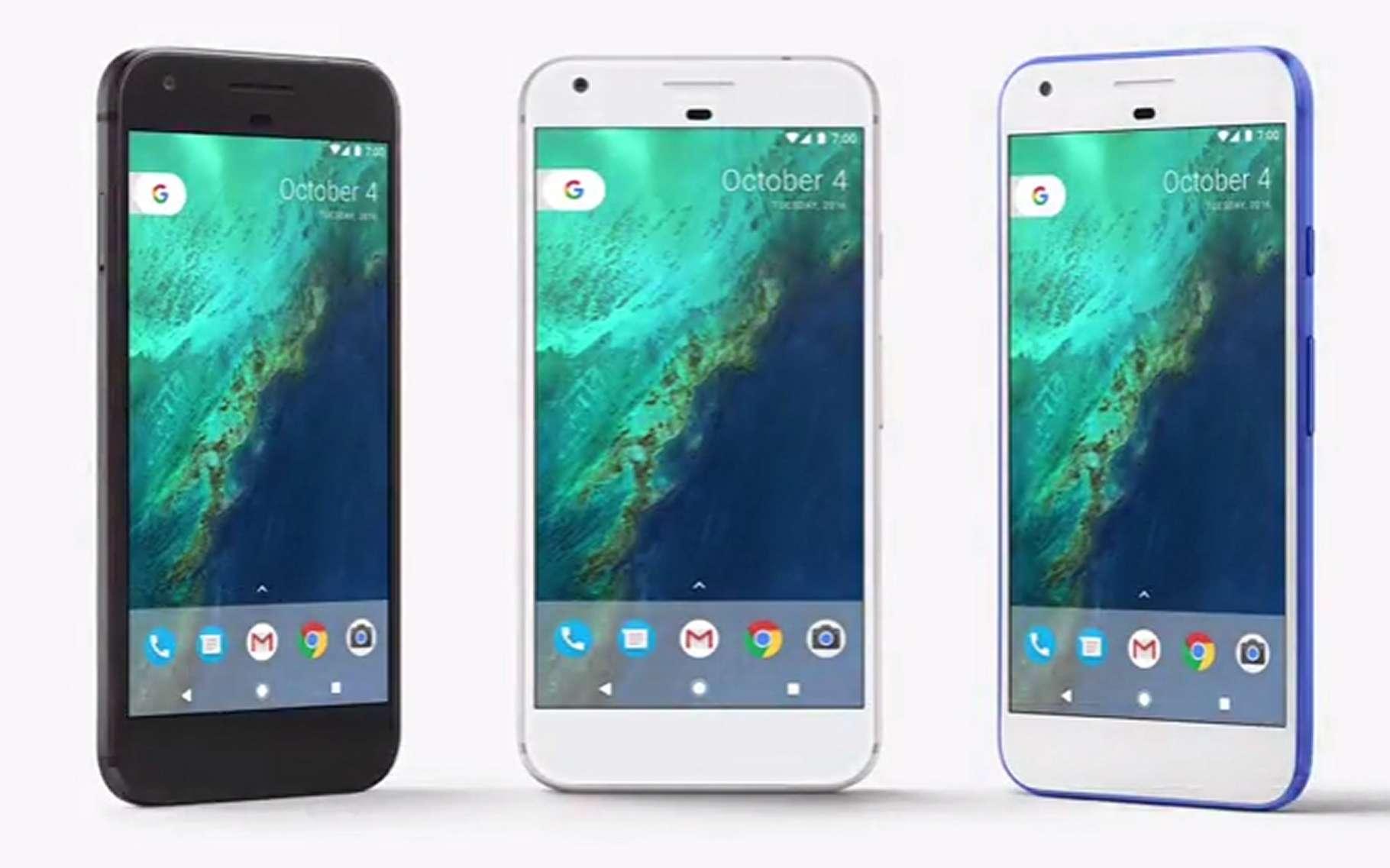 Le téléphone Pixel, conçu par Google et vendu sous sa marque, est un modèle haut de gamme, présenté le 4 octobre 2016. © Google