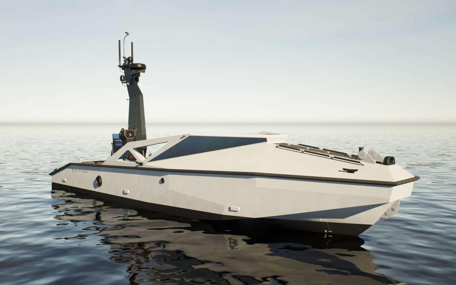 Vue d'artiste d'un LRUSV, un bateau autonome pouvant être bardé de drones d'attaque suicides. © Metal Shark