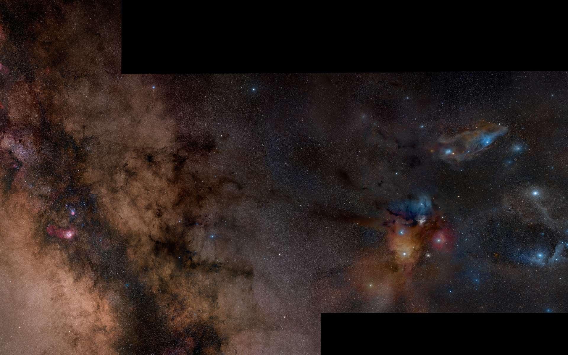 Cet assemblage de 52 photographies révèle la beauté des nuages de gaz et de poussières illuminés par de jeunes étoiles dans la région d'Ophiucus, à proximité de la Voie lactée. Crédit Rogelio Bernal Andreo