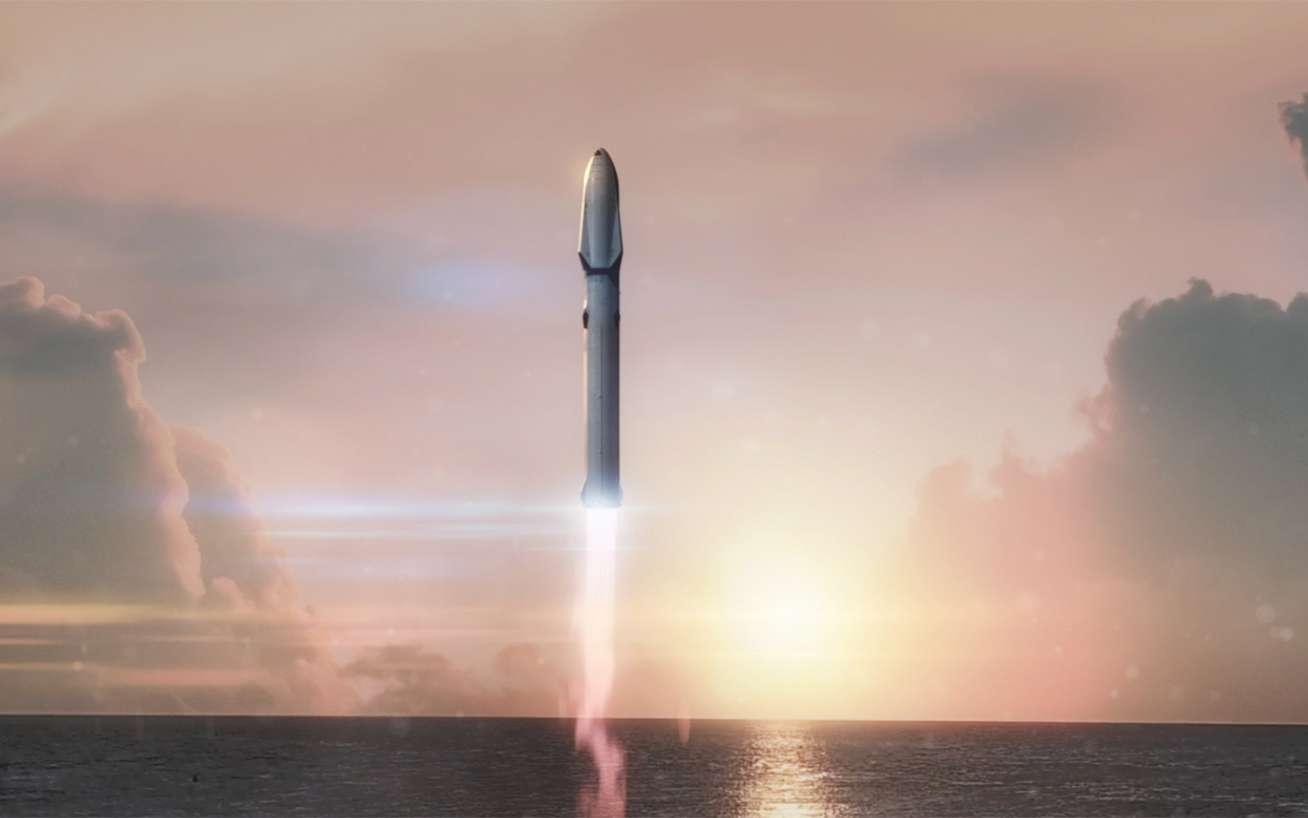 Le système de transport interplanétaire de SpaceX. Ce véhicule utilisé pour transporter des Hommes sur Mars comprend un étage principal sur lequel est installé soit le véhicule habité, soit sa version cargo qui contiendra les ergols. © SpaceX