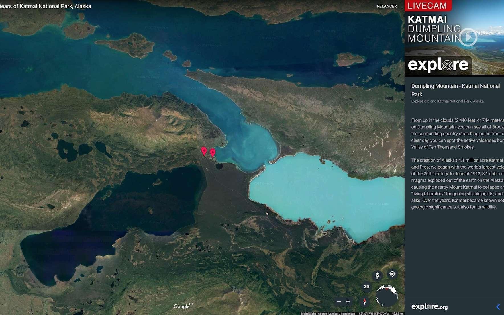 Capture d'écran de Google Earth. Les flèches rouges indiquent les emplacements des caméras d'Explore.org diffusant des vidéos en direct du Parc national de Katmai, en Alaska. © Google Earth