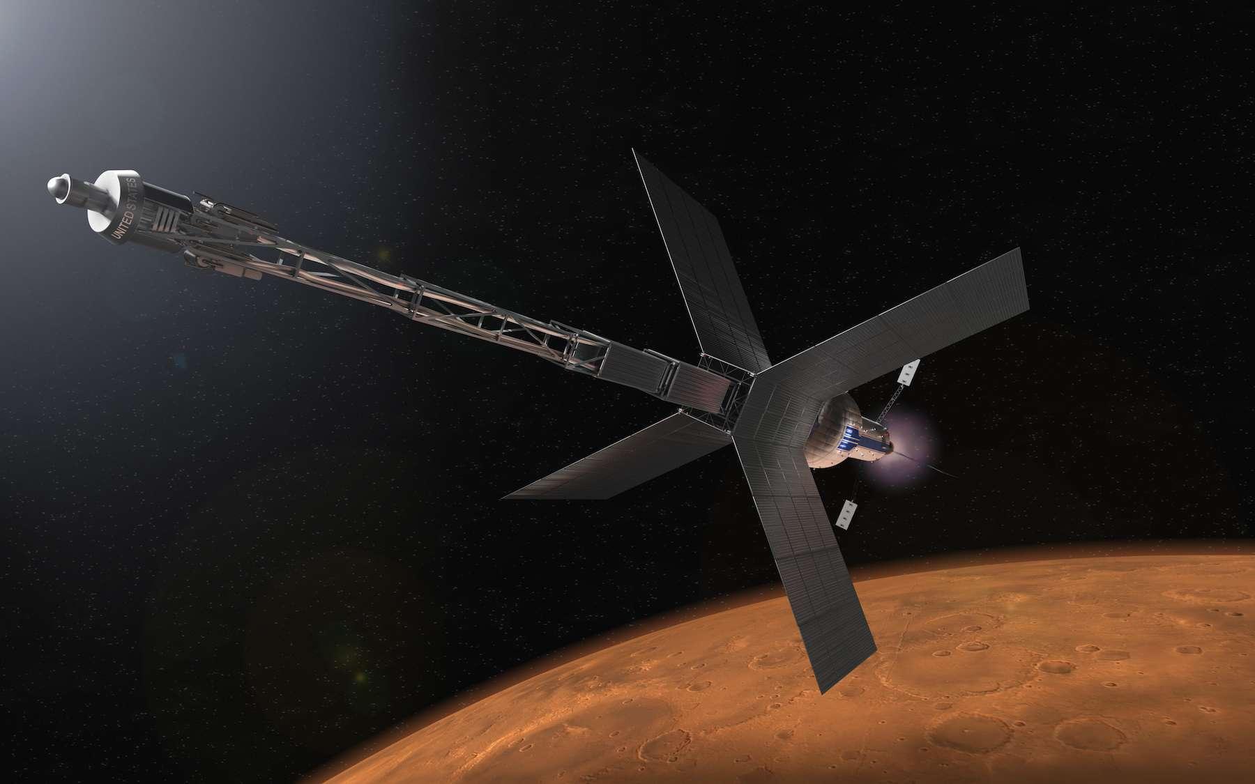 Illustration d'un module à propulsion nucléaire qui pourrait un jour emmener des astronautes vers Mars. © Nasa