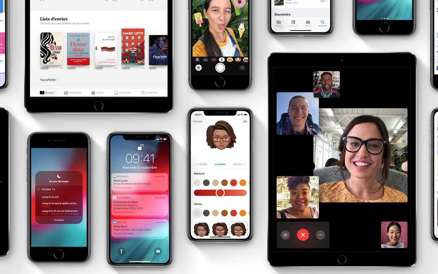 Captures d'écran d'iOS 12, le nouvel OS pour iPhone, iPad et iPod Touch sorti officiellement le 17 septembre 2018. © Apple