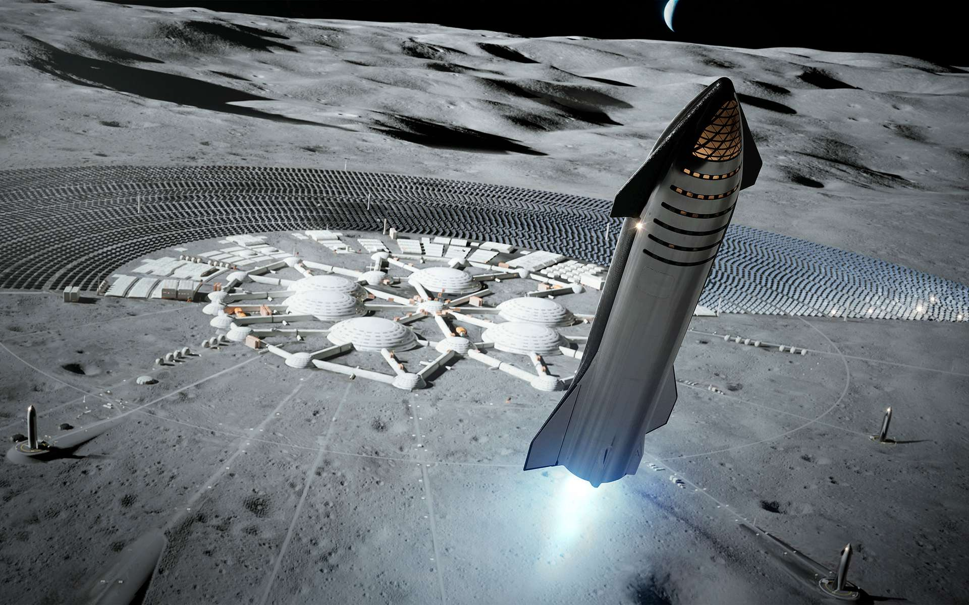 La version habitée du futur lanceur Starship de SpaceX. © SpaceX