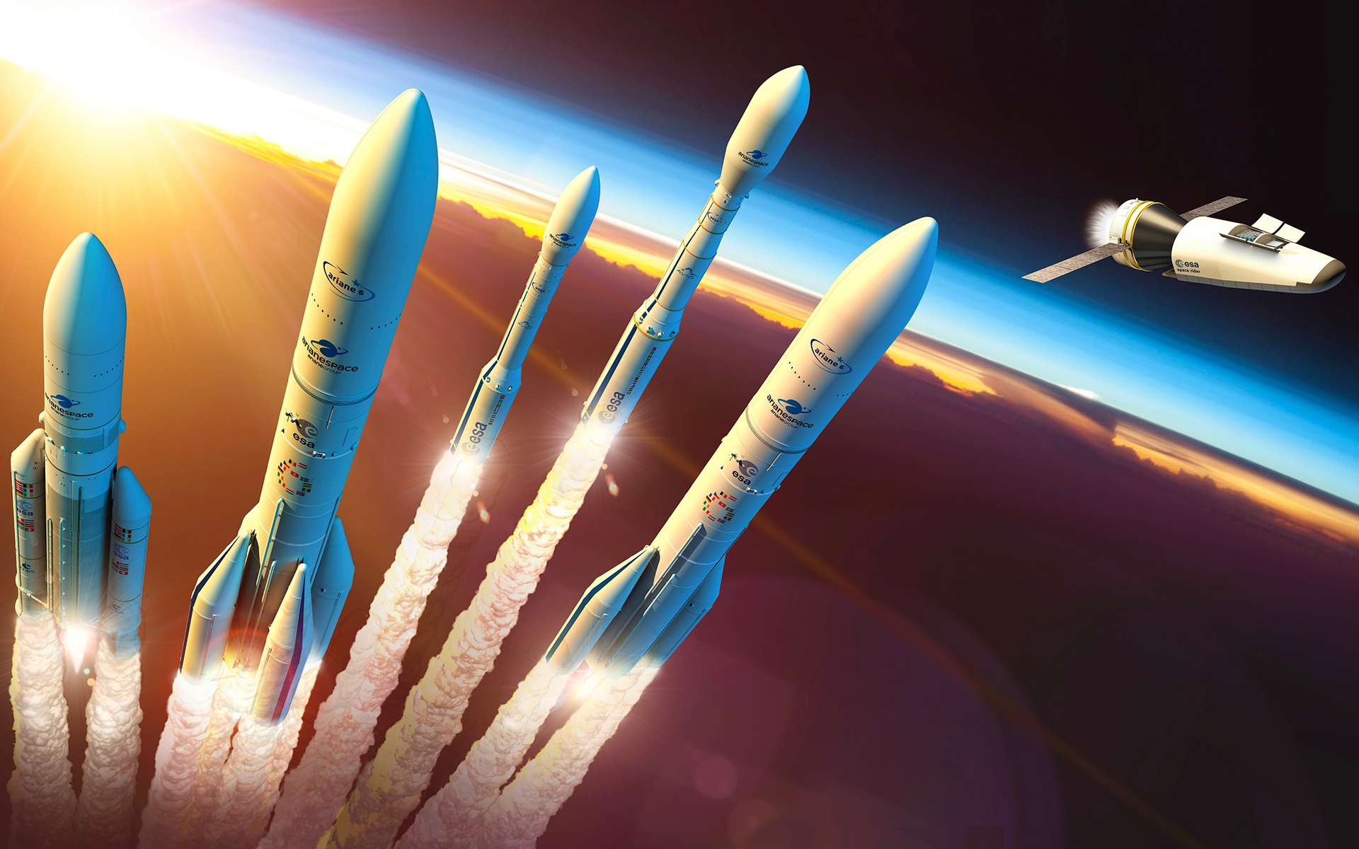 La gamme des lanceurs de l'Europe et le Space Rider de l'agence spatiale européenne. © ESA, D. Ducros