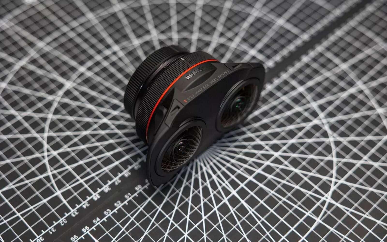 Le nouvel objectif de Canon peut filmer des images stéréoscopiques à 180 degrés. © Canon
