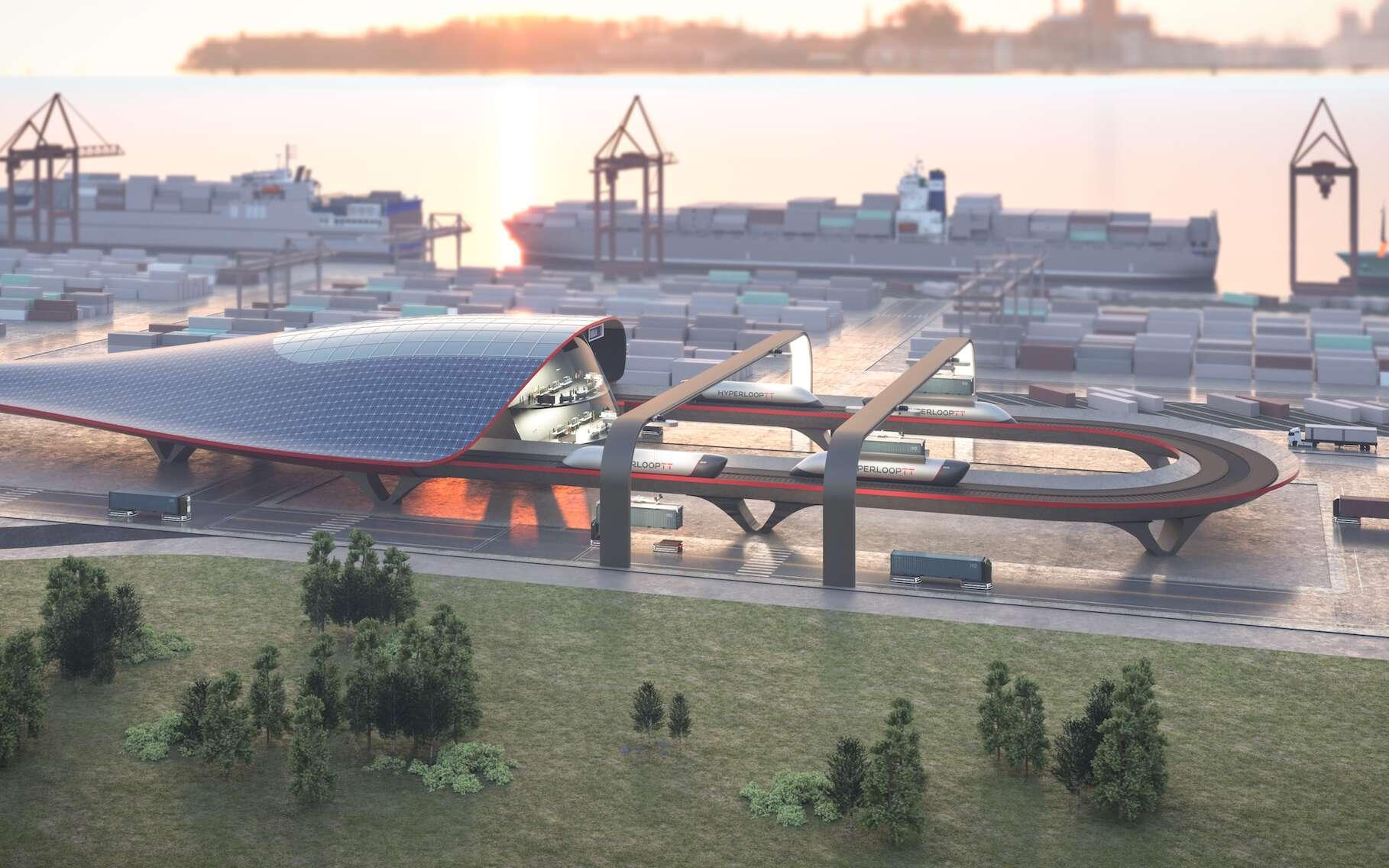 L'HyperPort développé par Hyperloop TT veut révolutionner le transport de fret. © Hyperloop TT