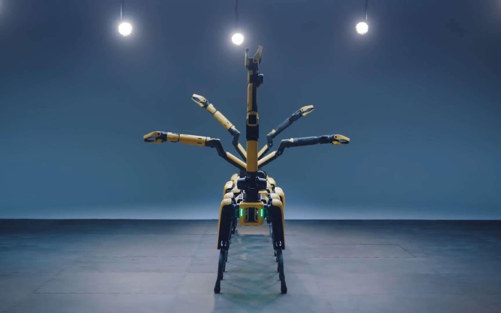 Plusieurs robots Spot effectuent une danse synchronisée sur la chanson IONIQ: I'm On It de BTS. © Boston Dynamics