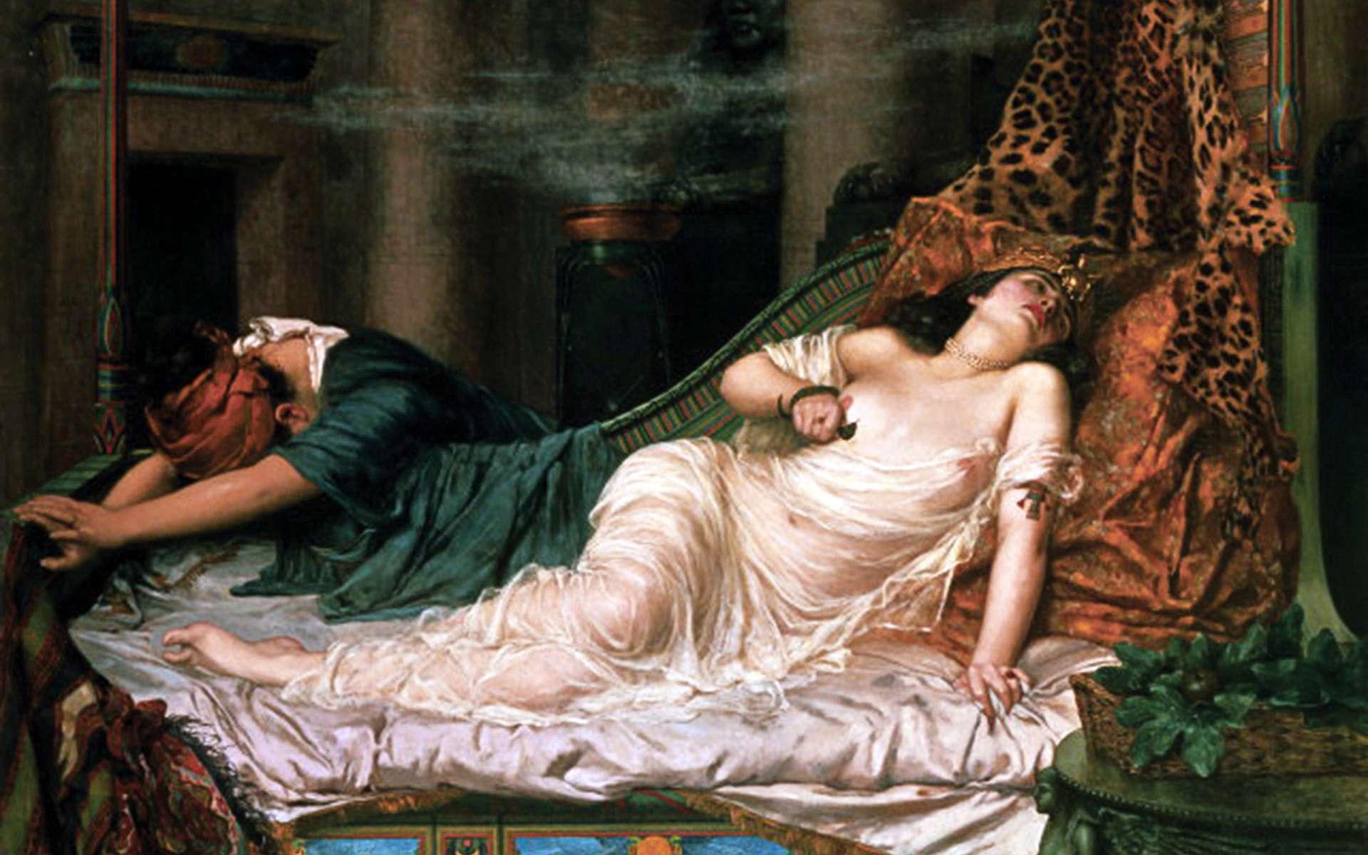 Mort de Cléopâtre par morsure de serpent. The Death of Cleopatra, Reginald Arthur (1892). © Roy Miles Gallery, Wikimedia Commons, DP