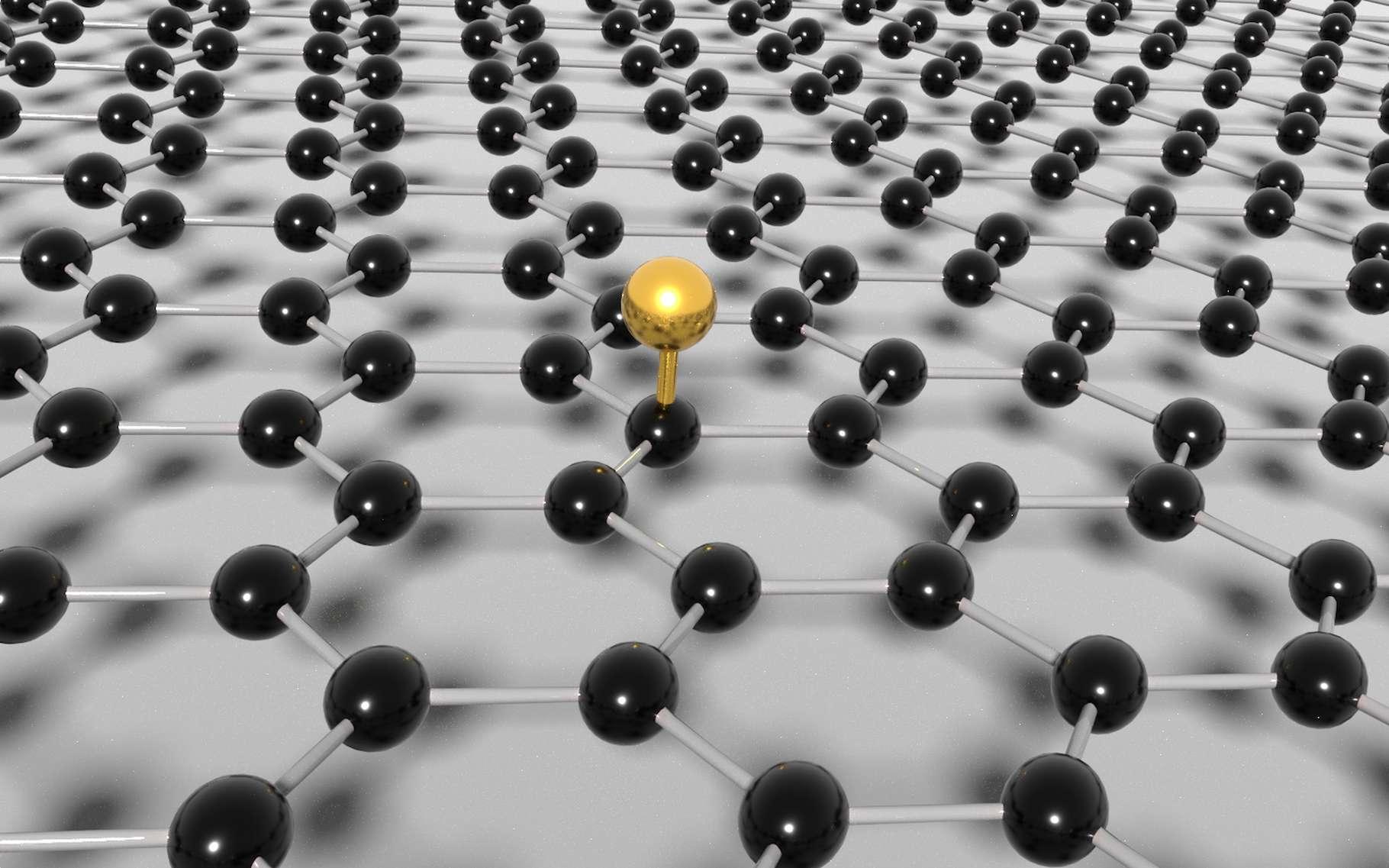 Pour créer un défaut sur une feuille de graphène et révéler ainsi une propriété topologique des fonctions d'onde de ses électrons, des chercheurs ont eu recours à un simple atome d'hydrogène greffé à la surface. © Université Grenoble Alpes/CEA
