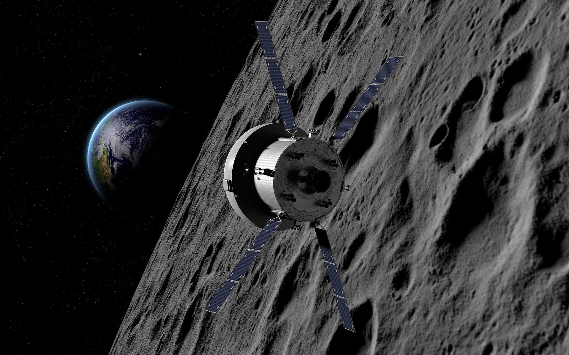 Le véhicule Orion de la Nasa avec, au premier plan, le module de service fourni par l'Agence spatiale européenne et construit par Airbus. Notez que le moteur principal de ce module a été récupéré sur une navette spatiale de la Nasa ! Il s'agit d'un des deux moteurs de l'Orbiting Maneuvering System, que les navettes utilisaient pour leurs manœuvres orbitales. © Nasa