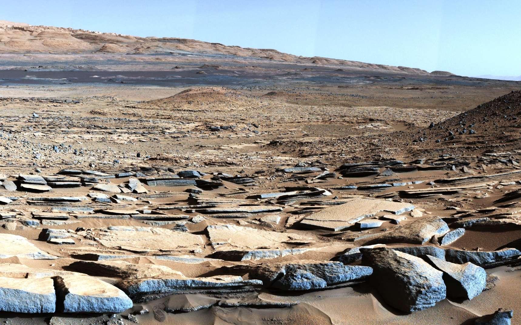 Le rover Curiosity de la Nasa a pris cette image à la base du mont Sharp sur Mars. Hélas, l'engin n'est pas équipé pour découvrir des bactéries sur la surface de la Planète rouge. © Nasa