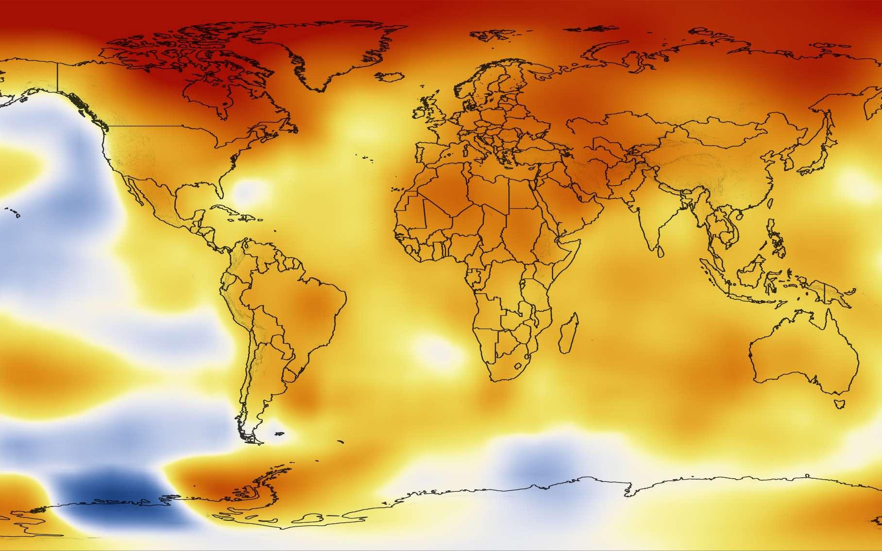 Les anomalies de la température annuelle, c'est-à-dire l'écart par rapport à la moyenne de la période 1951-1980, ont été calculées de 2008 à 2012. La carte montre la moyenne globale annuelle de ces quatre dernières années. On observe que la quasi-totalité du monde est soumise à des anomalies positives qui suggèrent un important réchauffement durant cette période. © Nasa Goddard's Scientific Visualization Studio