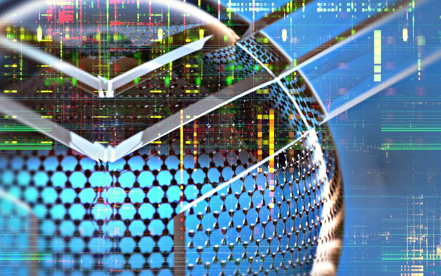 Ordinateur quantique : les anyons seraient observables dans le graphène. Ici, une vue d'artiste du graphène pour une nouvelle électronique. © fotoplot, Fotolia