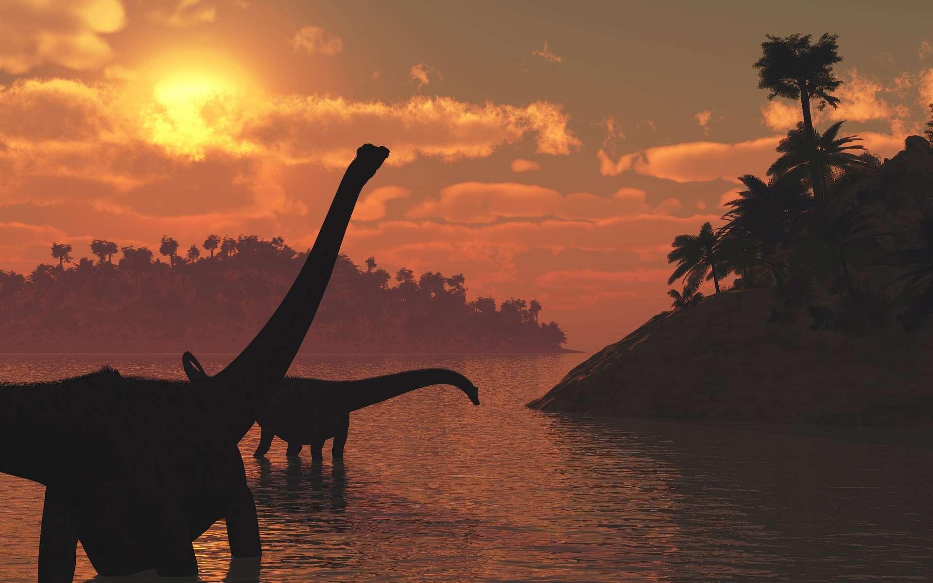 Les dinosaures ont marché sur la Terre durant plus de 150 millions d'années, et leur règne aurait pu sembler éternel. Pourtant, il y a environ 66 millions d'années, ils disparaissent. L'impact d'un petit corps céleste, probablement aussi en relation avec de grandes éruptions volcaniques, a très probablement provoqué leur extinction. Mais les détails du déroulement de cette crise biologique restent à préciser. © Shutterstock, Linda Bucklin