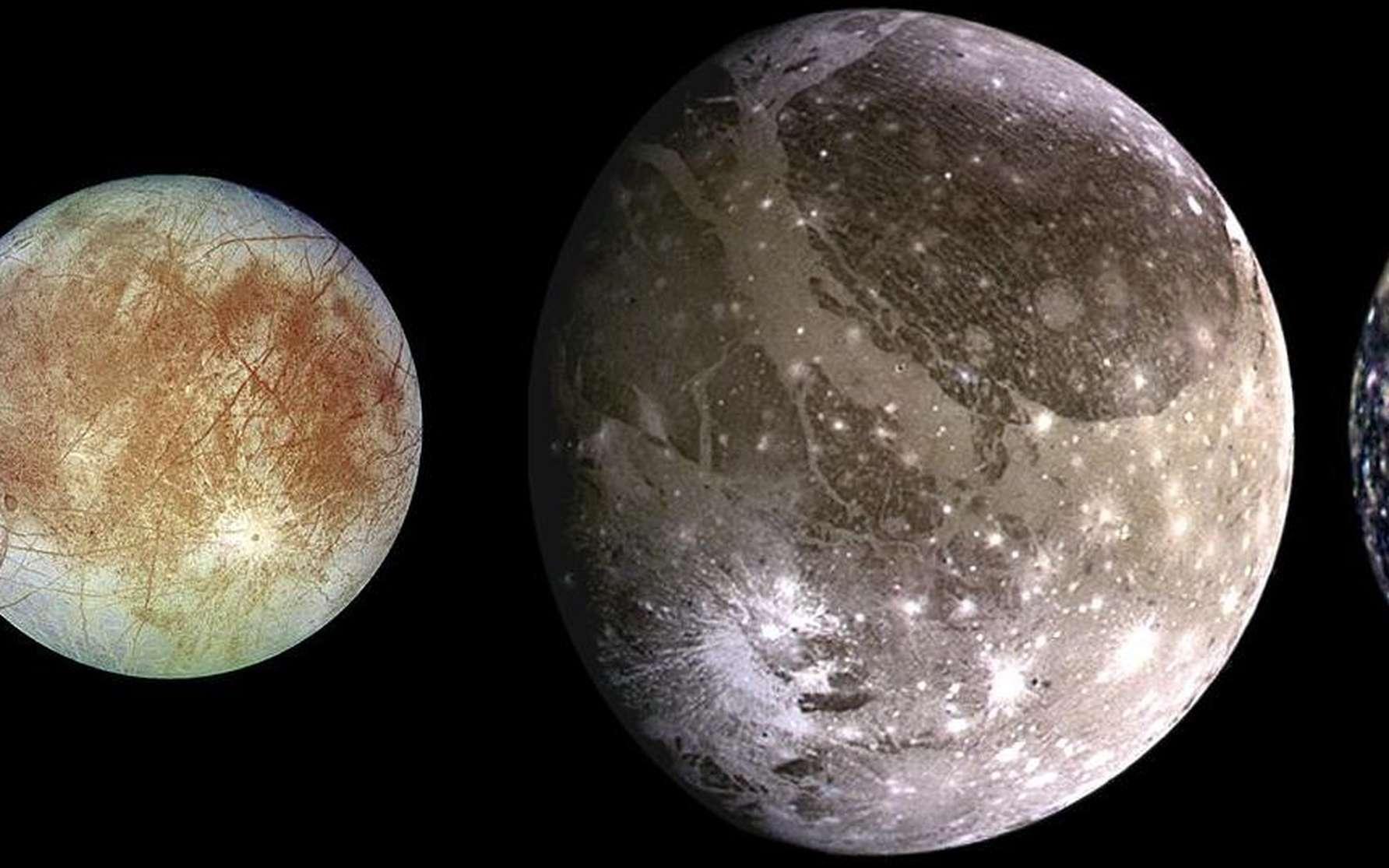 Les quatre lunes médicéennes de Jupiter photographiées par Galileo. De gauche à droite, en partant de Jupiter : Io, Europe, Callisto, Ganymède. © Nasa