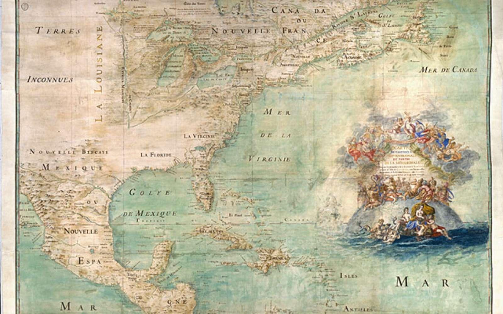 Carte de l'Amérique septentrionale avec la représentation du Canada ou Nouvelle-France, datée de 1681, dessinée par l'abbé Claude Bernou. © Bibliothèque nationale de France, domaine public.