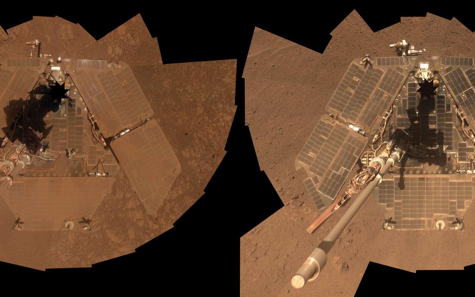 Acquises à trois mois d'intervalle (début janvier à gauche et fin mars à droite), ces deux autoportraits du rover Opportunity de la Nasa montrent l'effet du vent sur ses panneaux solaires. En janvier, ceux-ci étaient complètement recouverts d'une fine couche de poussière, alors que cette dernière avait complètement disparu à la fin mars ! © Nasa, JPL-Caltech, université Cornell, université d'État de l'Arizona